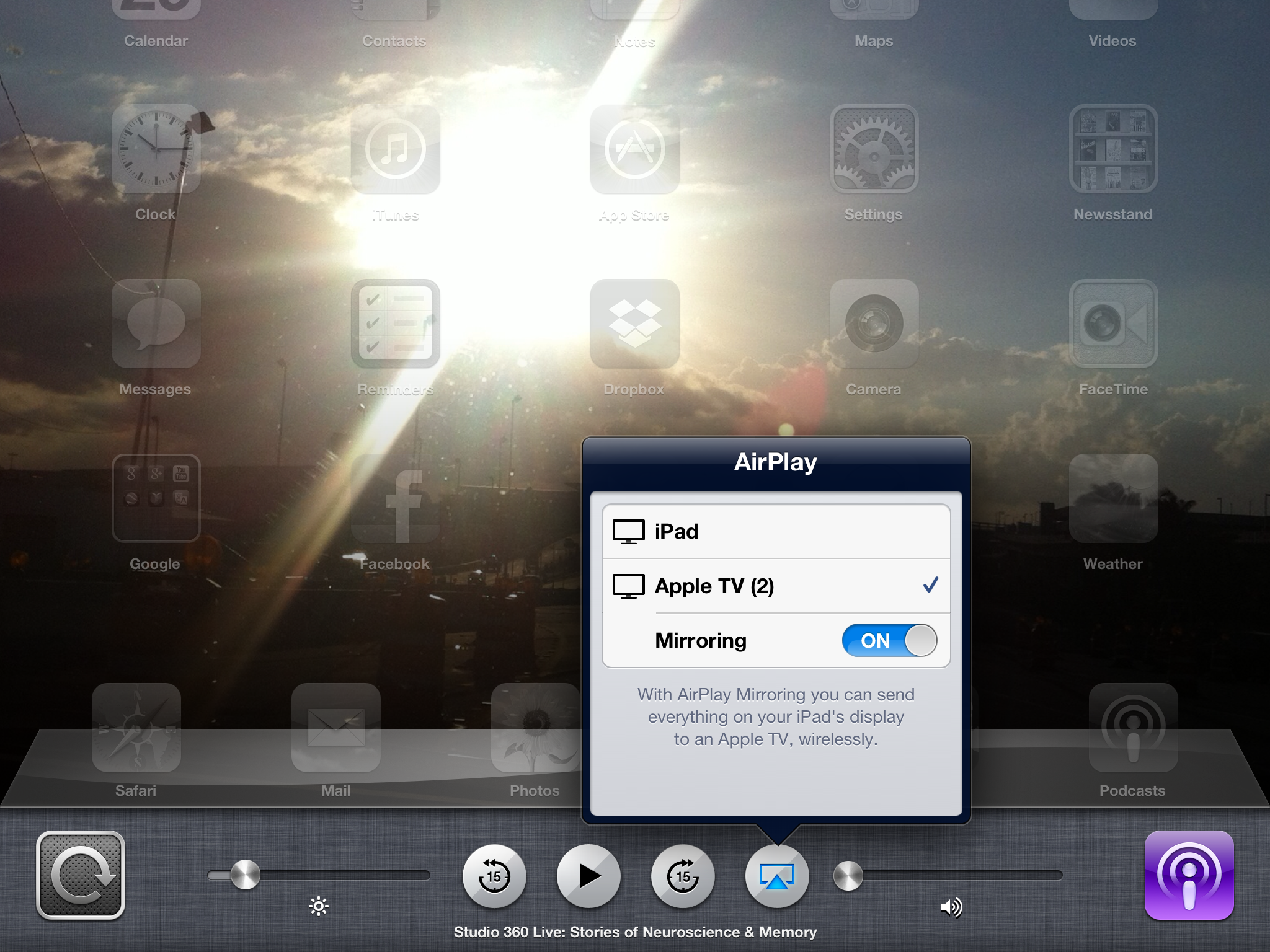 AirPlay Mirroring on an iPad