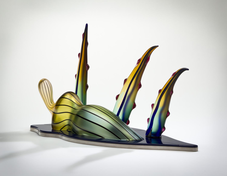 """Escape    2011. Blown glass, Vitrolite, aluminum. 16½ x 28½ x 12"""""""