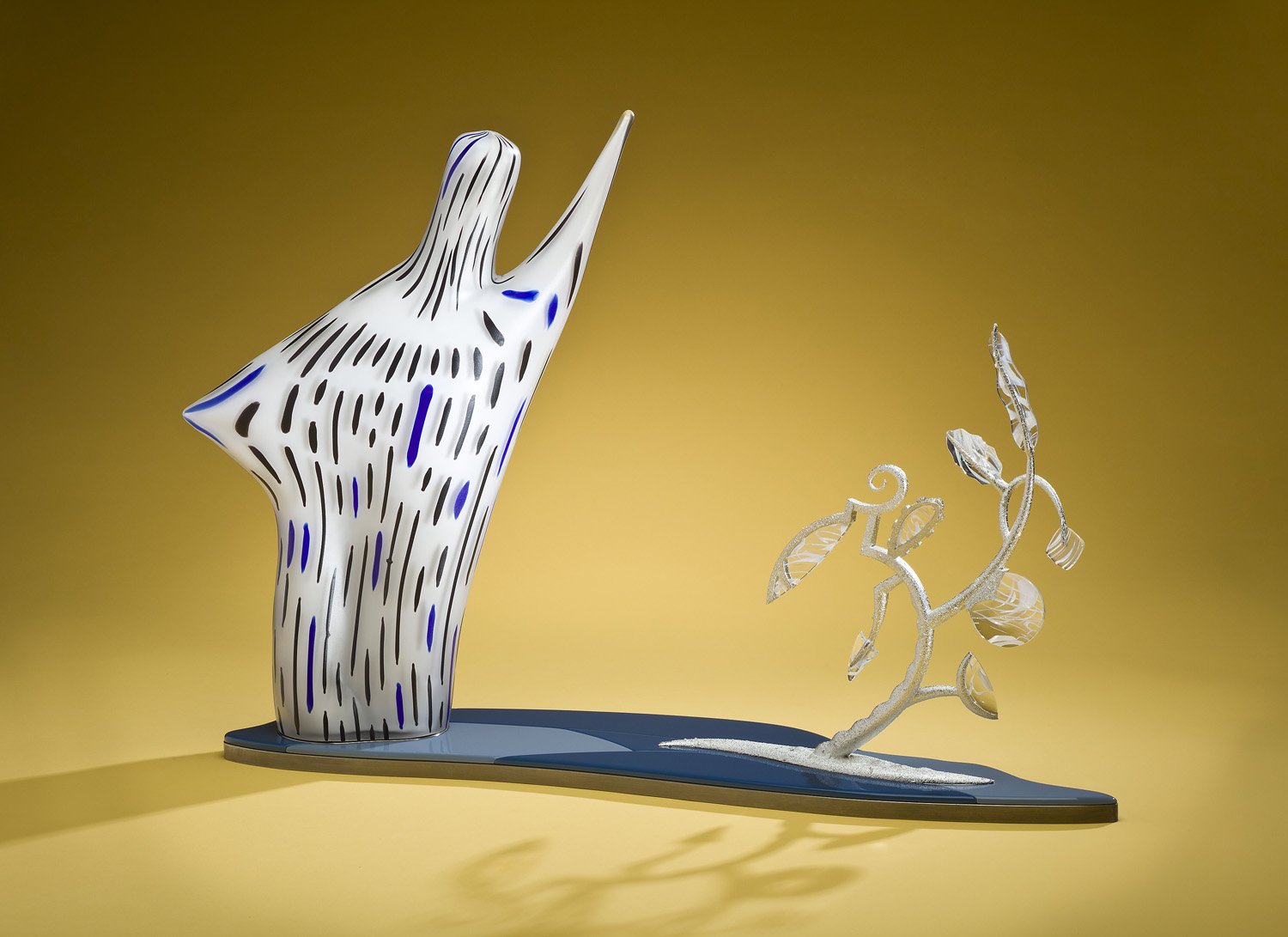 """Ethereal    2011. Blown glass, Virtolite, tin-plated brass, nickel-plated aluminum. 22 x 28 x 8"""""""