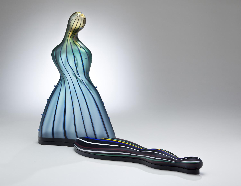 "Mirror    2011. Blown glass, hot-worked glass, Vitrolite, mirror. 19 x 25 x 10"""