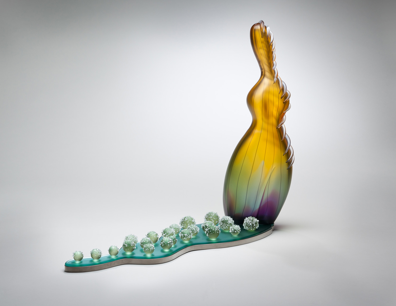 """Field of Cabbages    2010. Blown glass, hot-worked glass, mirror, aluminum, and glass details. 21 x 27 x 7"""""""