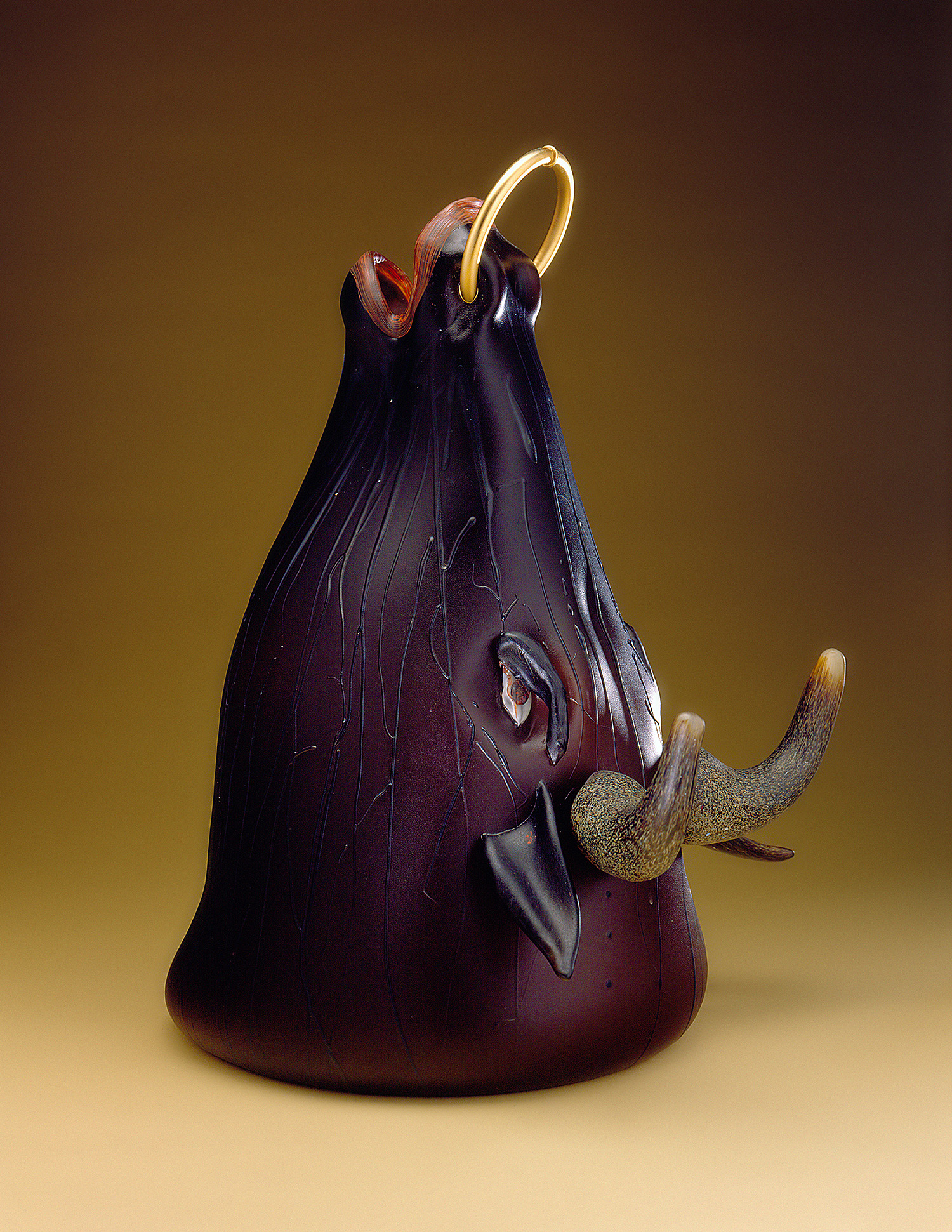 "Bull   1998. Blown glass, sandblasted and acid polished. 19 x 15 x 12"""