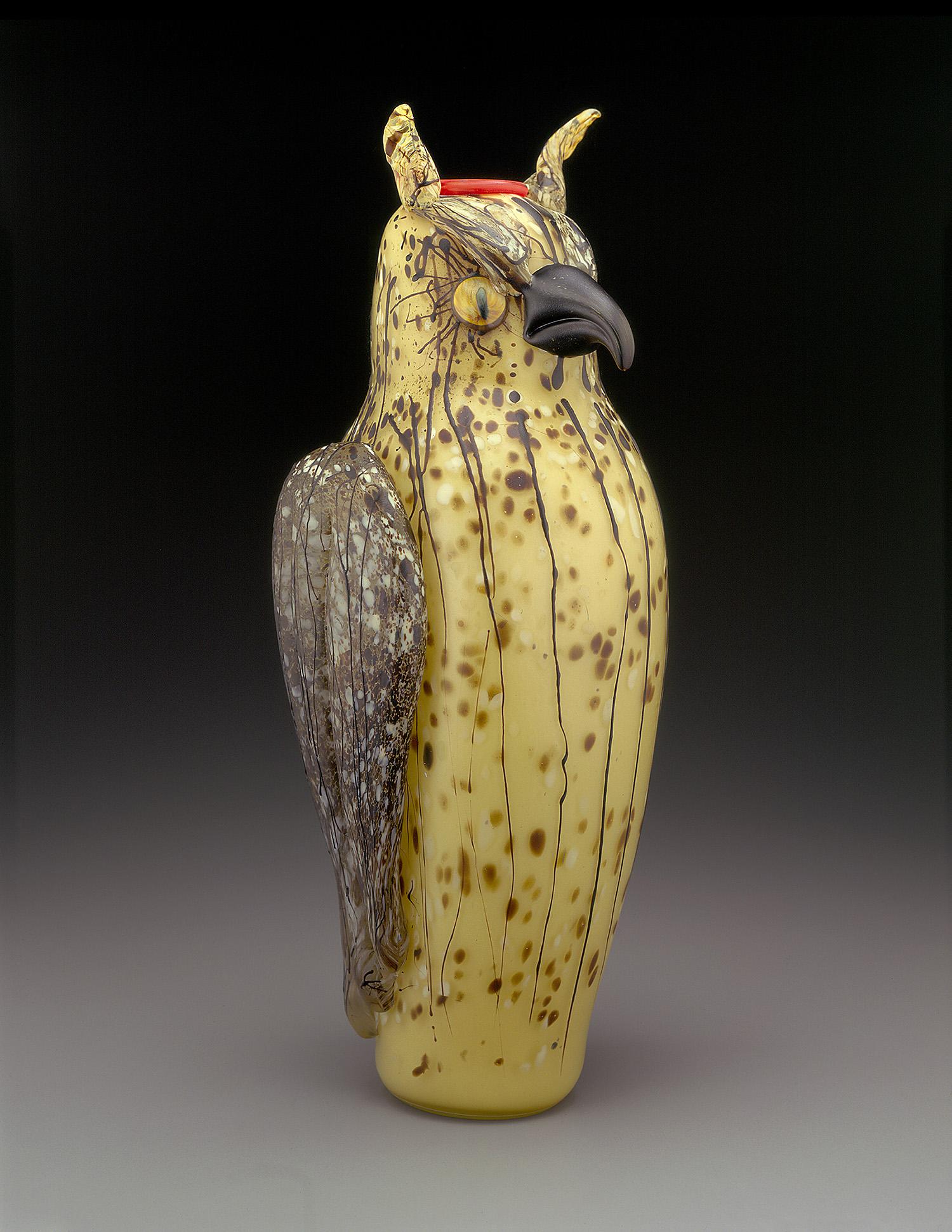 "Owl   1998. Blown glass, sandblasted and acid polished. 21 x 9 x 7"""