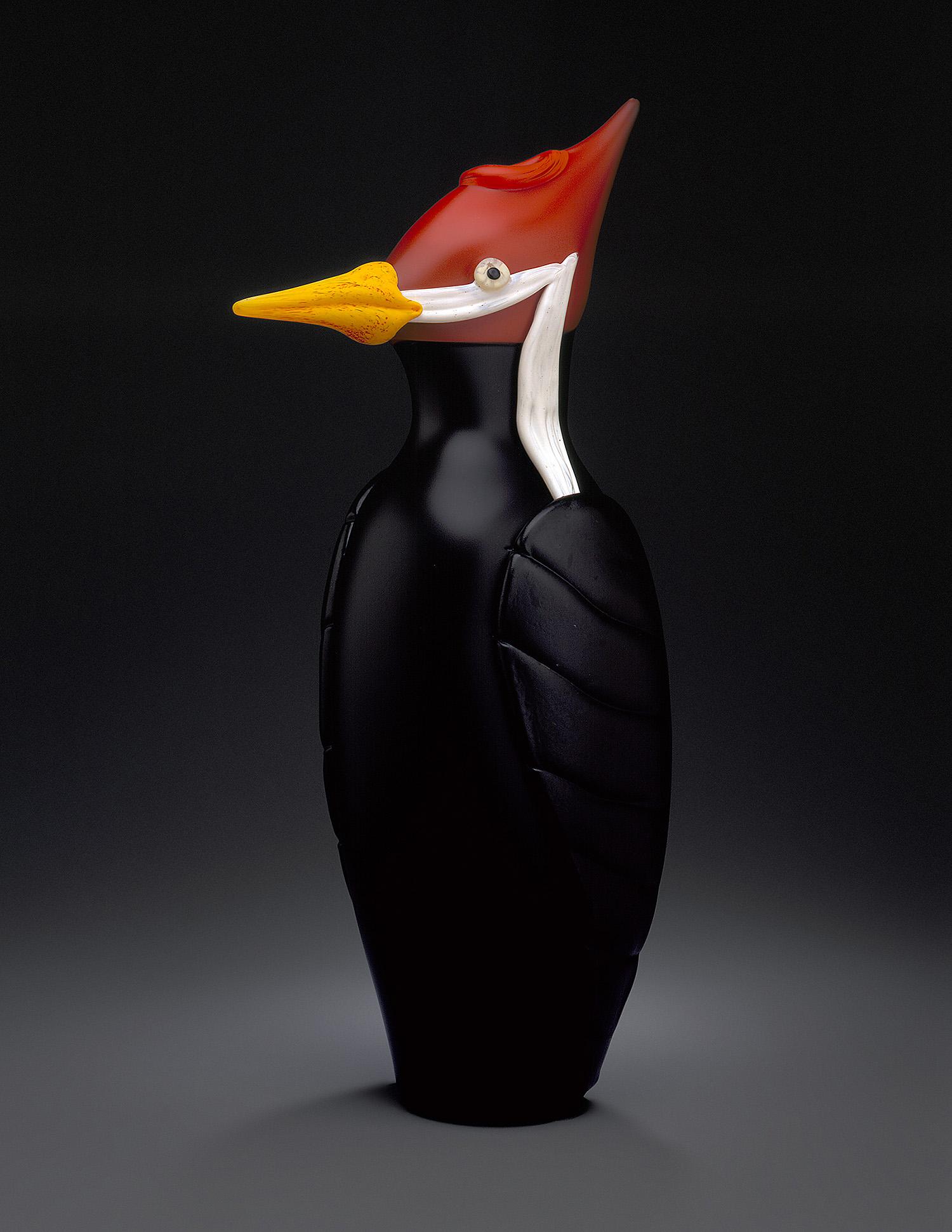 "Woodpecker   1997. Blown glass, sandblasted and acid polished. 22 x 9 x 7"""