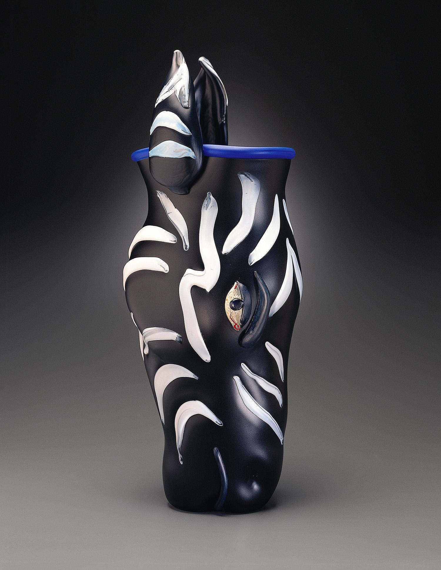"""Zebra   1995. Blown glass, sandblasted and acid polished. 24½ x 8½ x 9"""""""