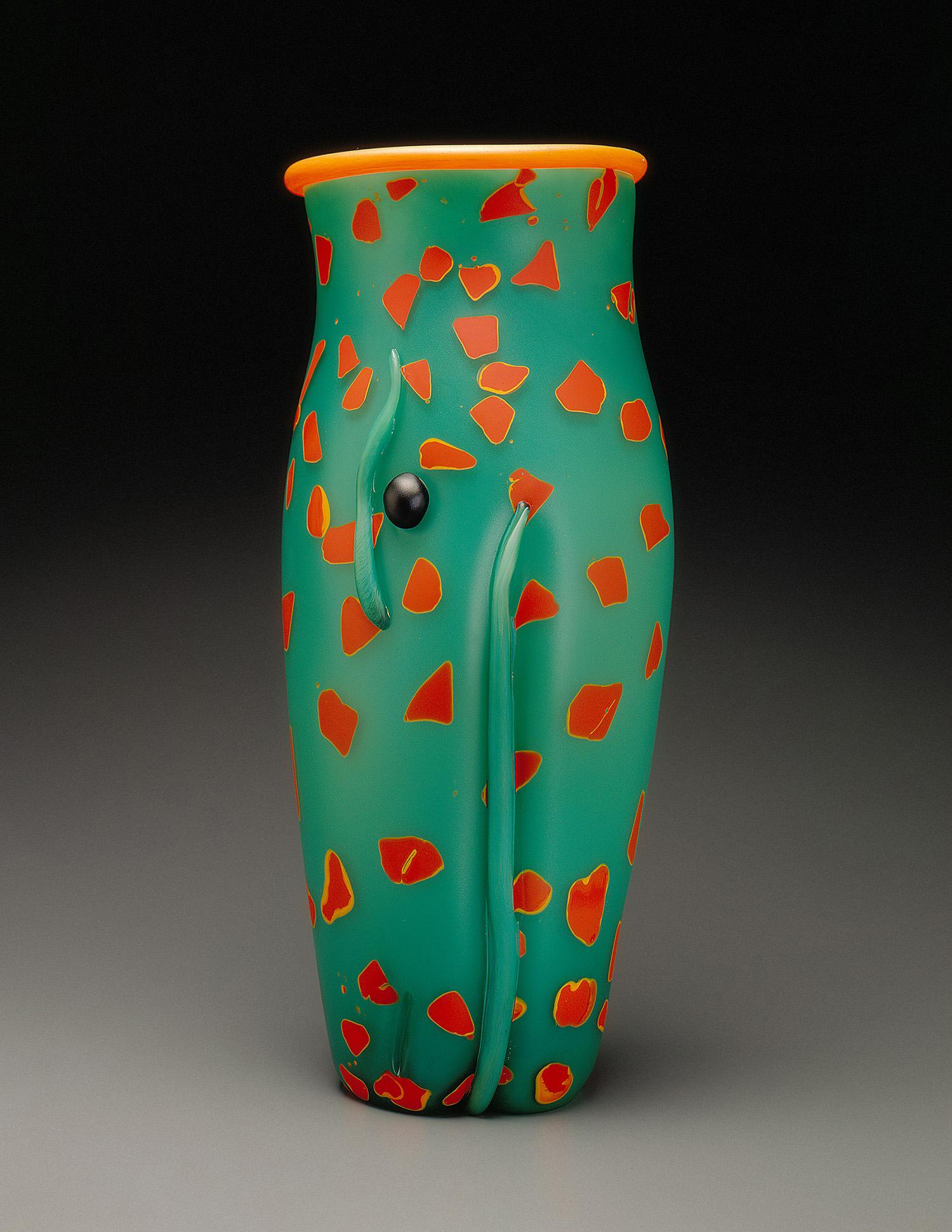 "Lizard   1995. Blown glass, sandblasted and acid polished. 20½ x 8½"""