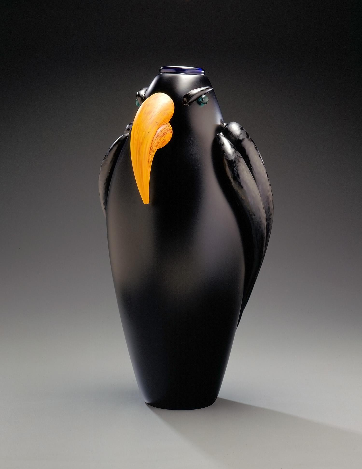 "Hawk   1995. Blown glass, sandblasted and acid polished. 20 x 11 x 9½"""