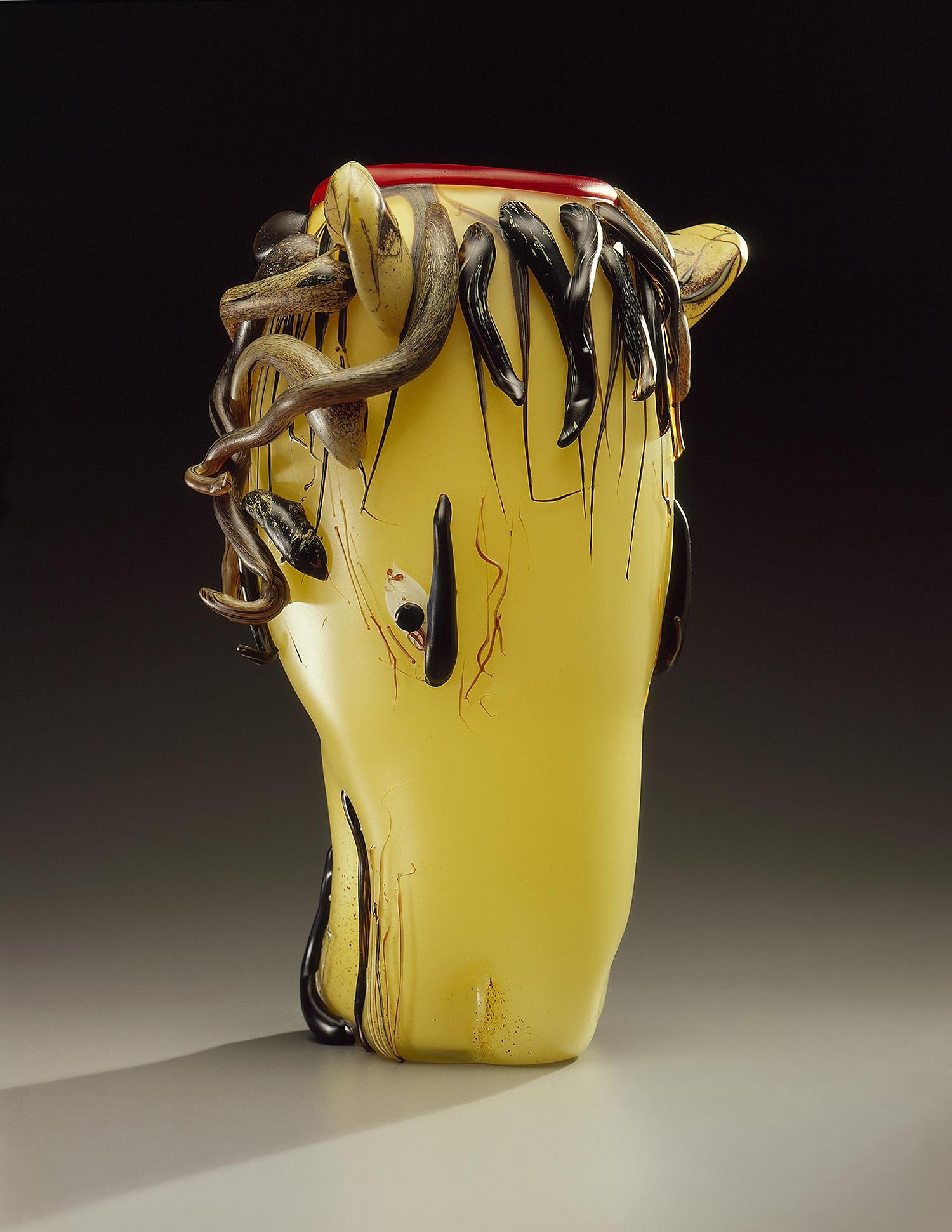 "Lion   1994. Blown glass, sandblasted and acid polished. 18 x 12"""