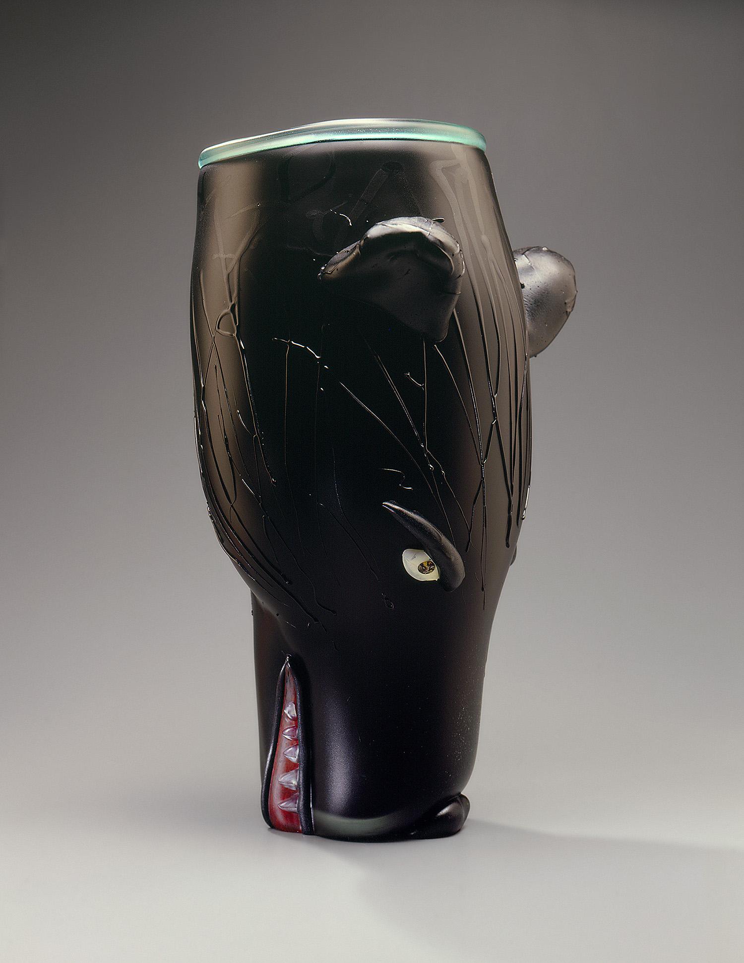 "Bear   1994. Blown glass, sandblasted and acid polished. 18½ x 11"""