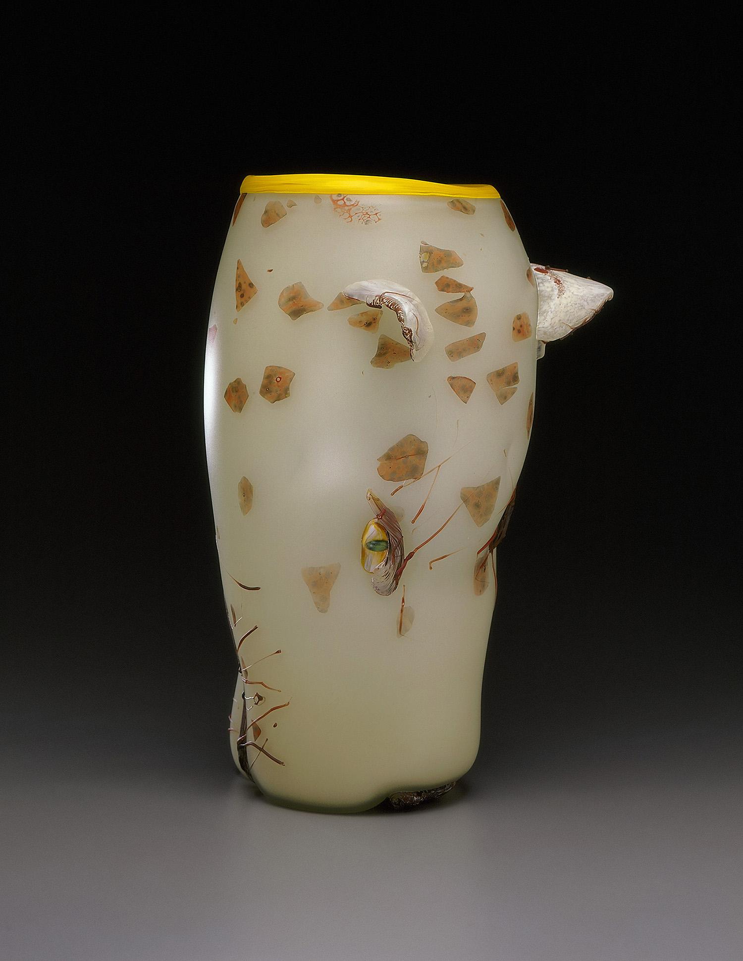 "Cheetah   1993. Blown glass, sandblasted and acid polished. 16 x 8½"""