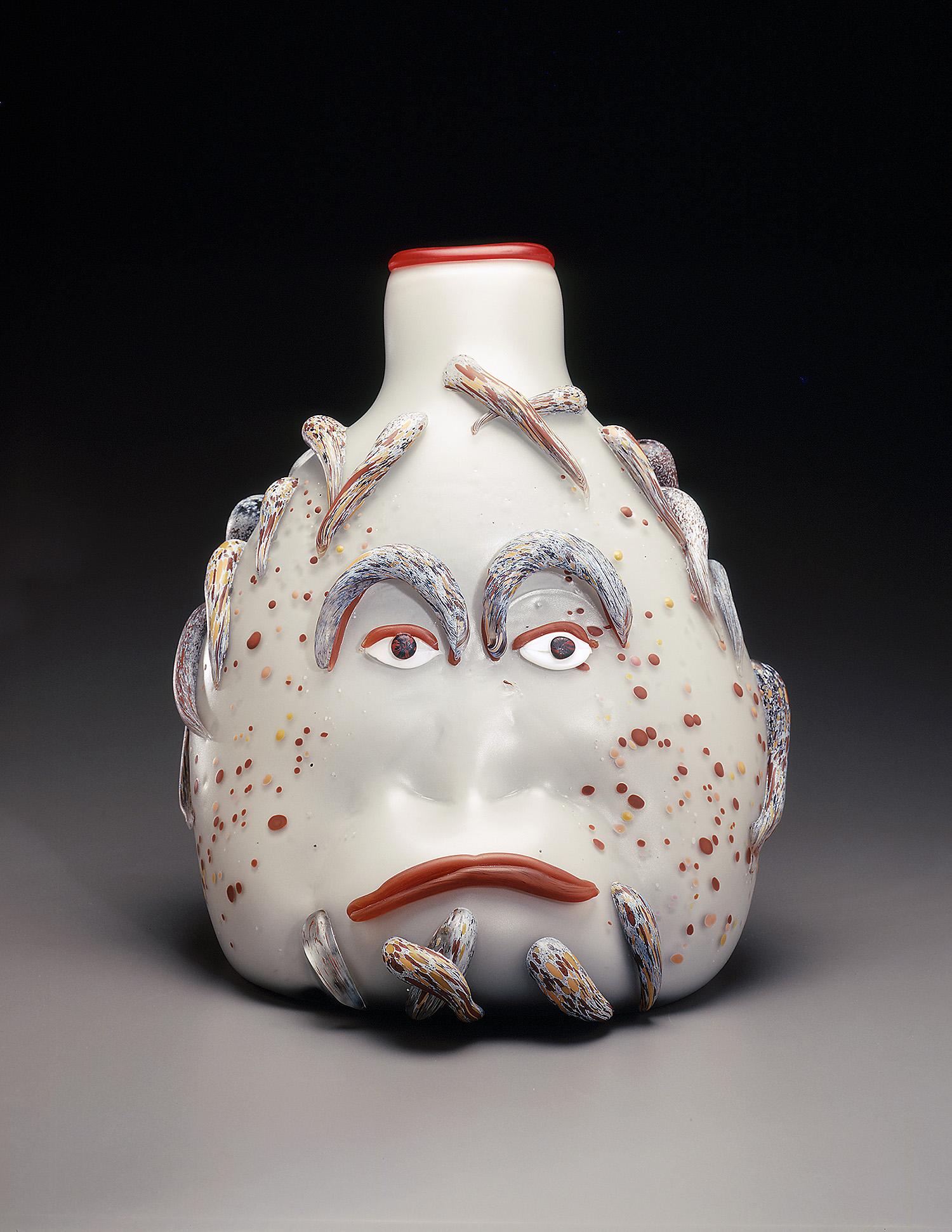 "Orangutan   1993. Blown glass, sandblasted and acid polished. 18 x 14½ x 13"""