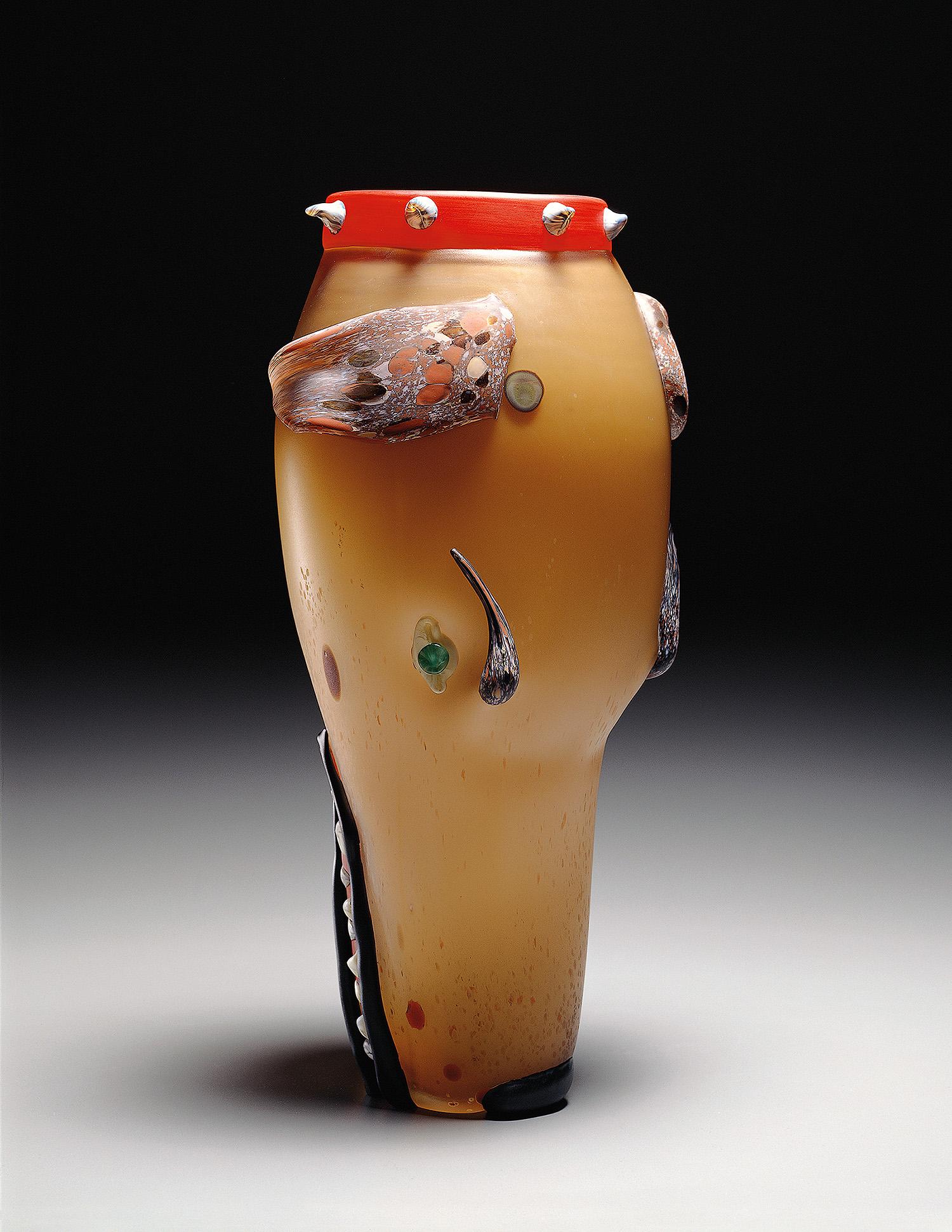 """Dog   1994. Blown glass, sandblasted and acid polished. 20 x 9"""""""