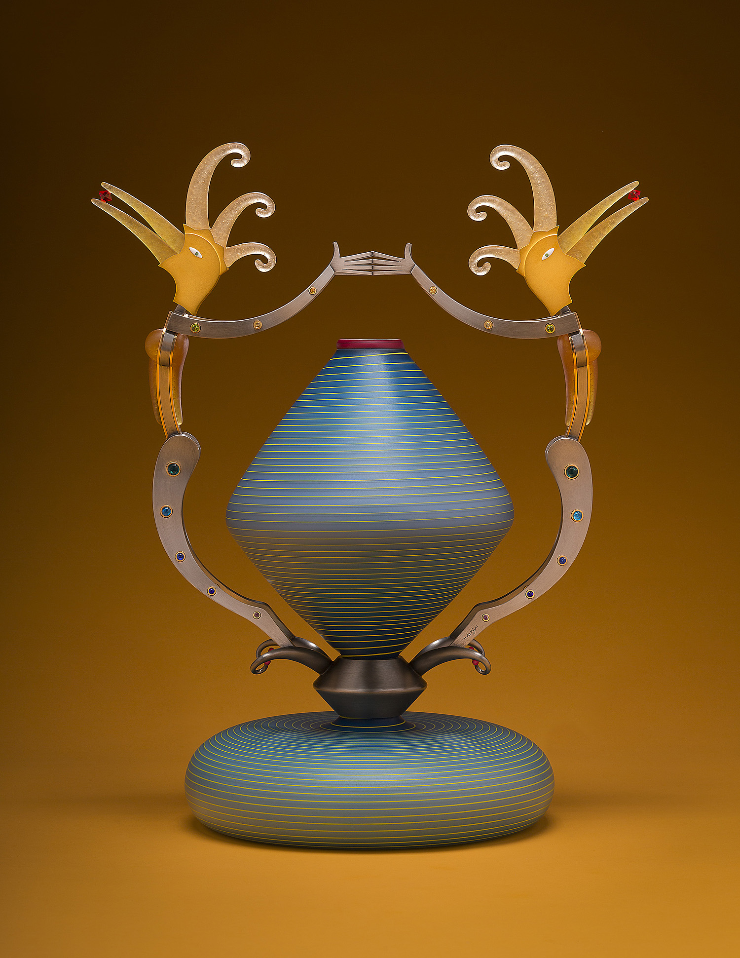 Spring   2012. Blown glass, nickel and gold-plated bronze, pate de verre and lampworked glass. 18 x 15 x 9½""