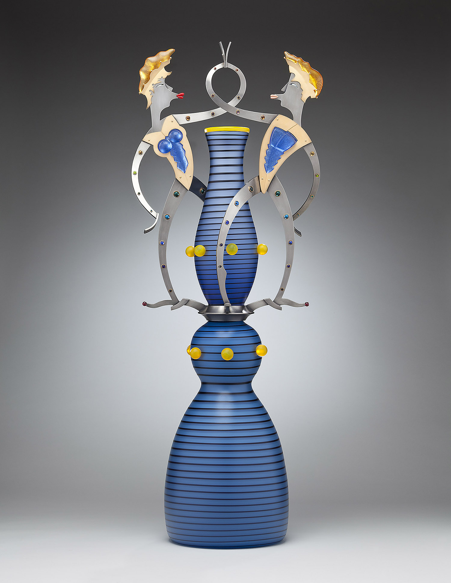 Smoochers   2010. Blown glass, nickel and gold-plated bronze, Vitrolite, pate de verre. 42 x 16½ x 10""
