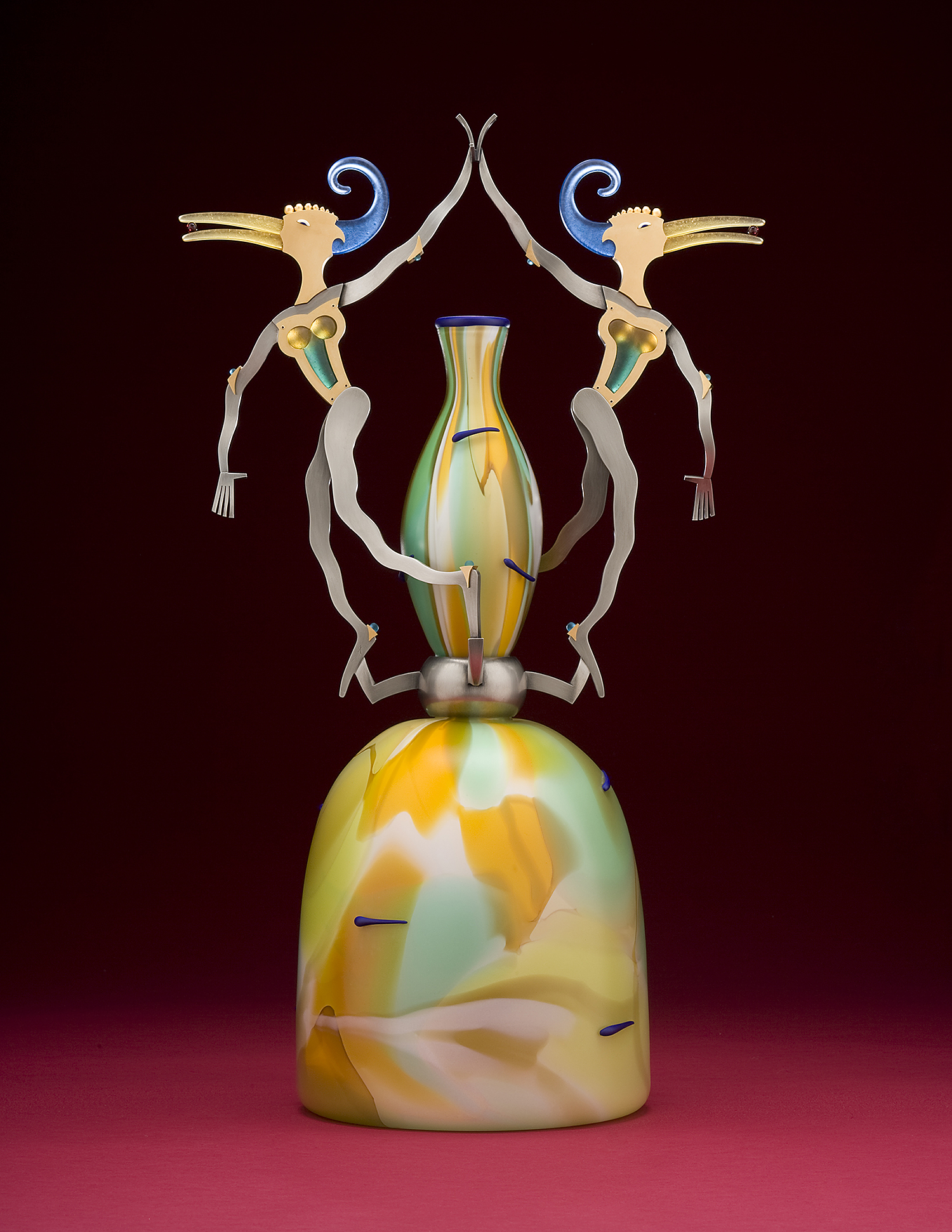 Pretenders   2008. Blown glass, nickel and gold-plated bronze, pate de verre, Vitrolite. 25 x 14½ x 9""