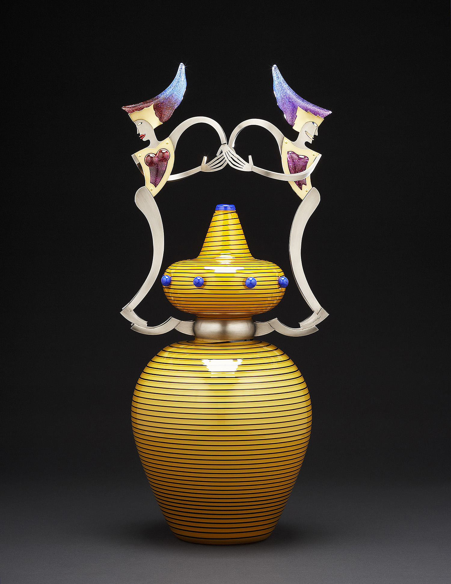 Sensation   2006. Blown glass, nickel and gold-plated bronze, pate de verre, Vitrolite. 24½ x 11 x 9½""