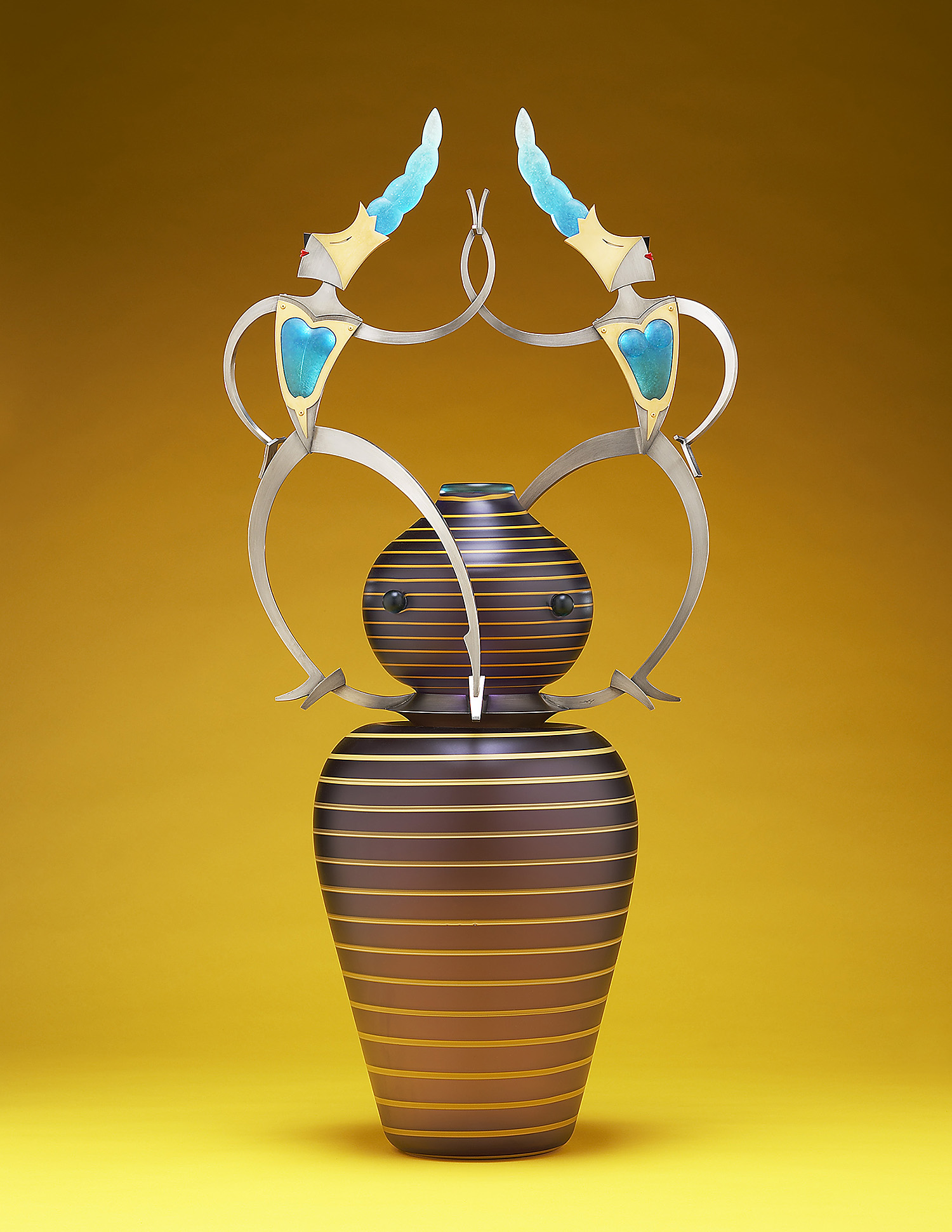 Mummers   2005. Blown glass, nickel and gold-plated bronze, pate de verre, Vitrolite. 35 x 19 x 12""