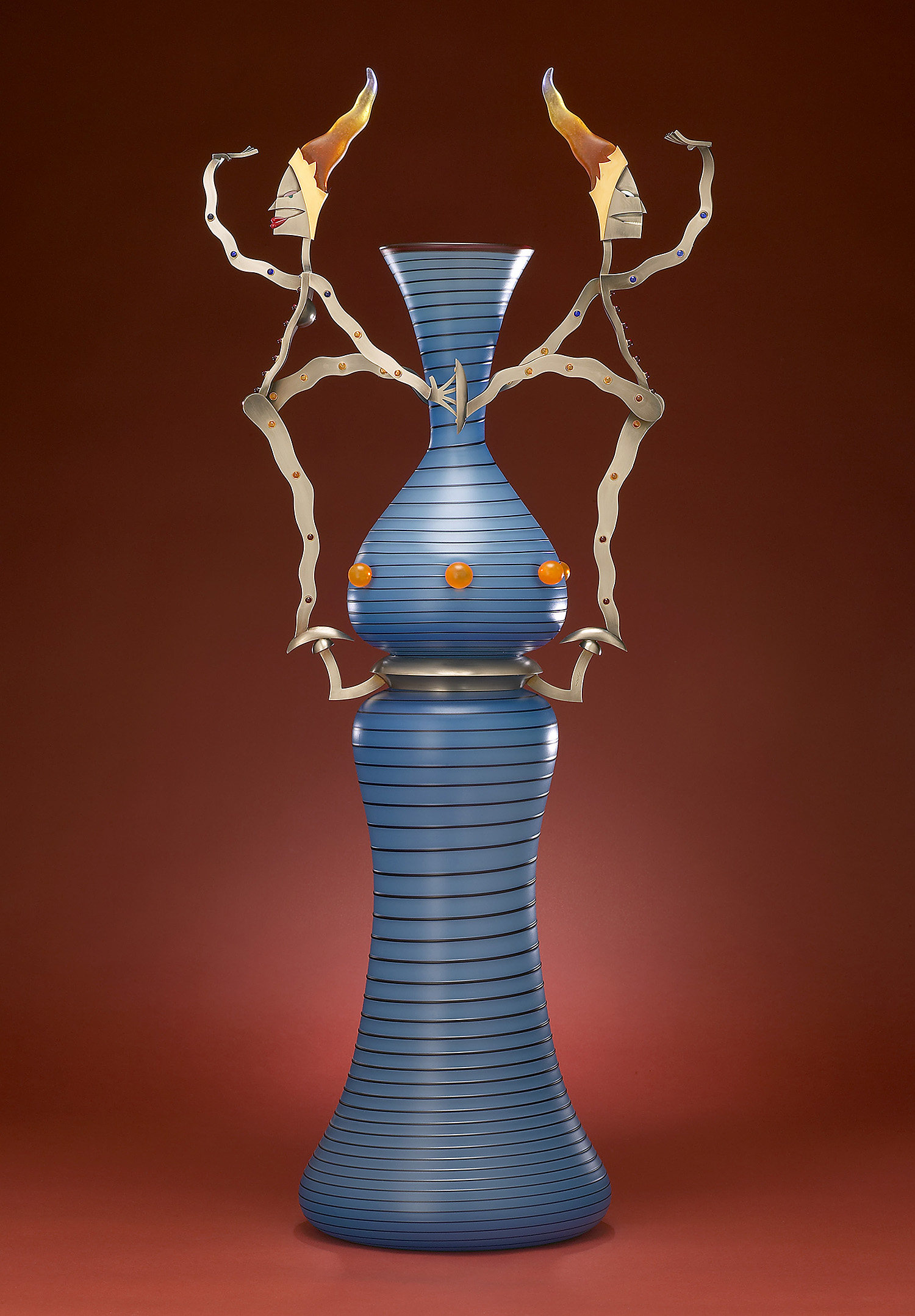 Slippery   2003. Blown glass, nickel and gold-plated bronze, pate de verre, Vitrolite. 36 x 16 x 9½""