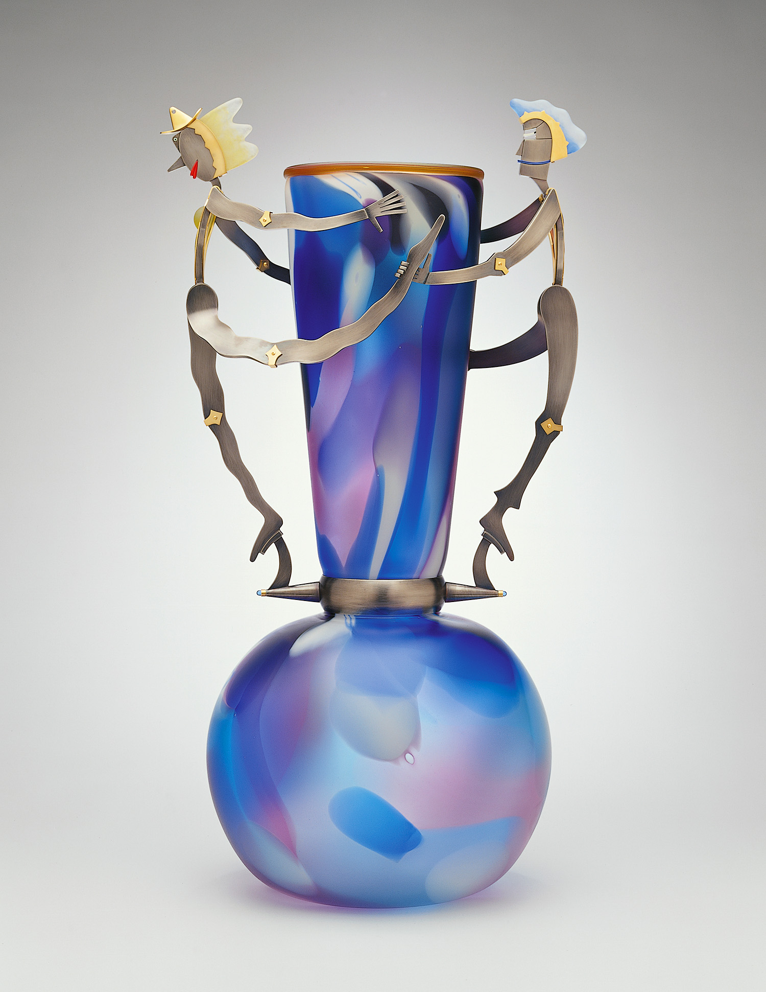 Freddo and Calda   2001. Blown glass, nickel and gold-plated bronze, Vitrolite, pate de verre. 34½ x 18 x 14""
