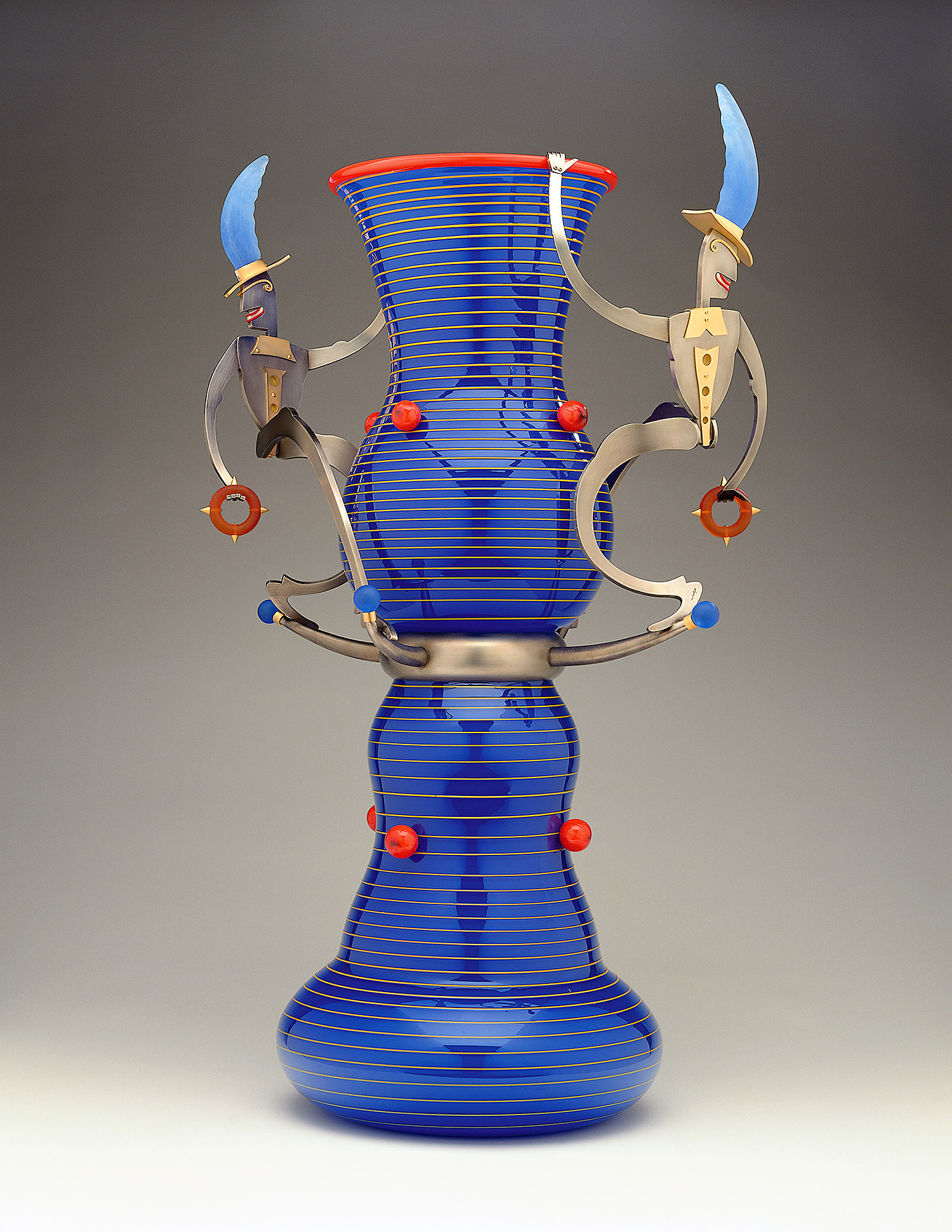 Good Grandees   2000. Blown glass, nickel and gold-plated bronze, Vitrolite, pate de verre. 34 x 19½ x 14""