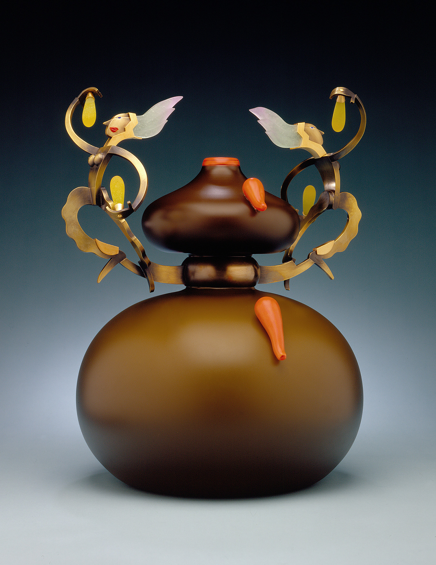 Curiosities   2000. Blown glass, nickel and gold-plated bronze, Vitrolite and pate de verre. 16 x 11½ x11½""