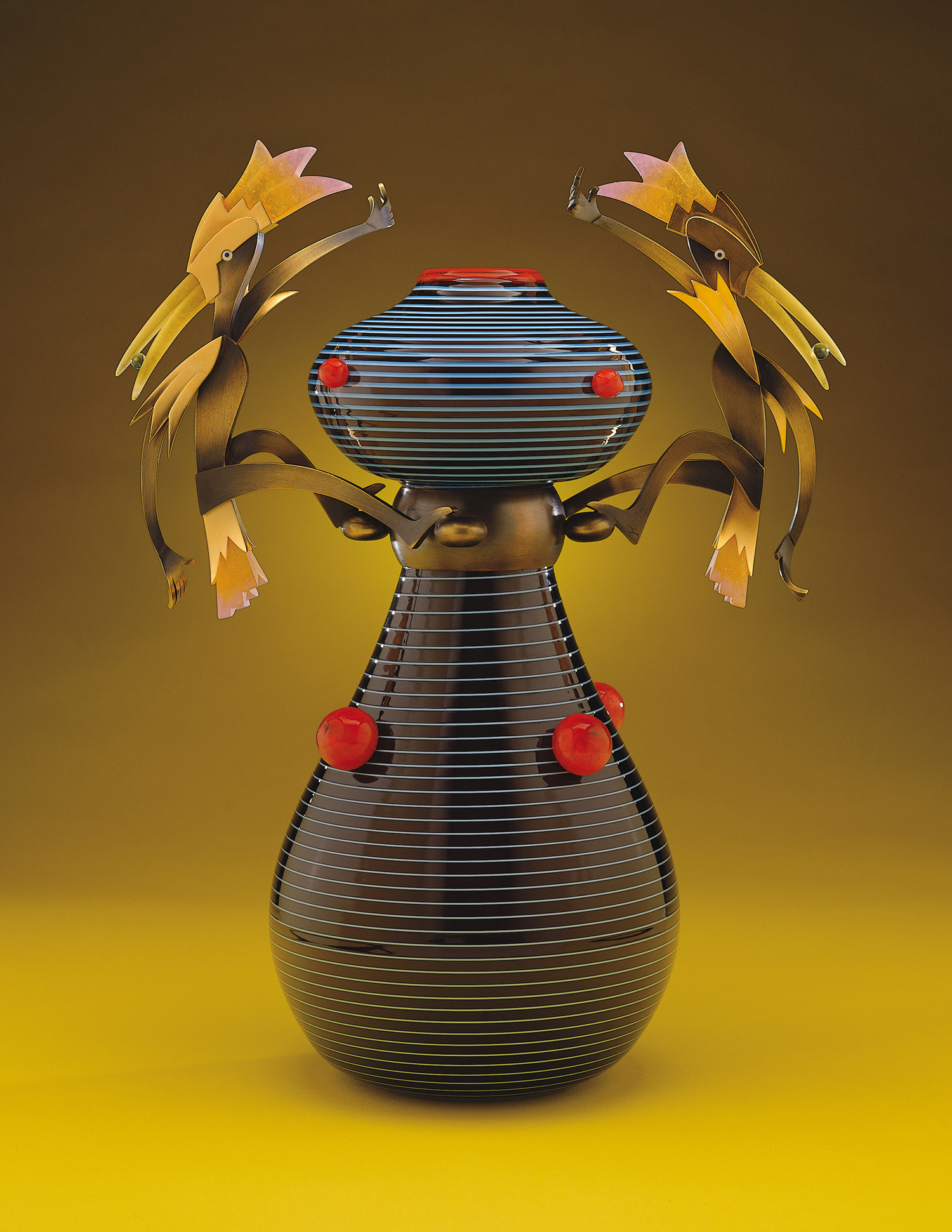 Harlequins   2000. Blown glass, bronze and gold-plated bronze, pate de verre. 18 x 13½ x 8""