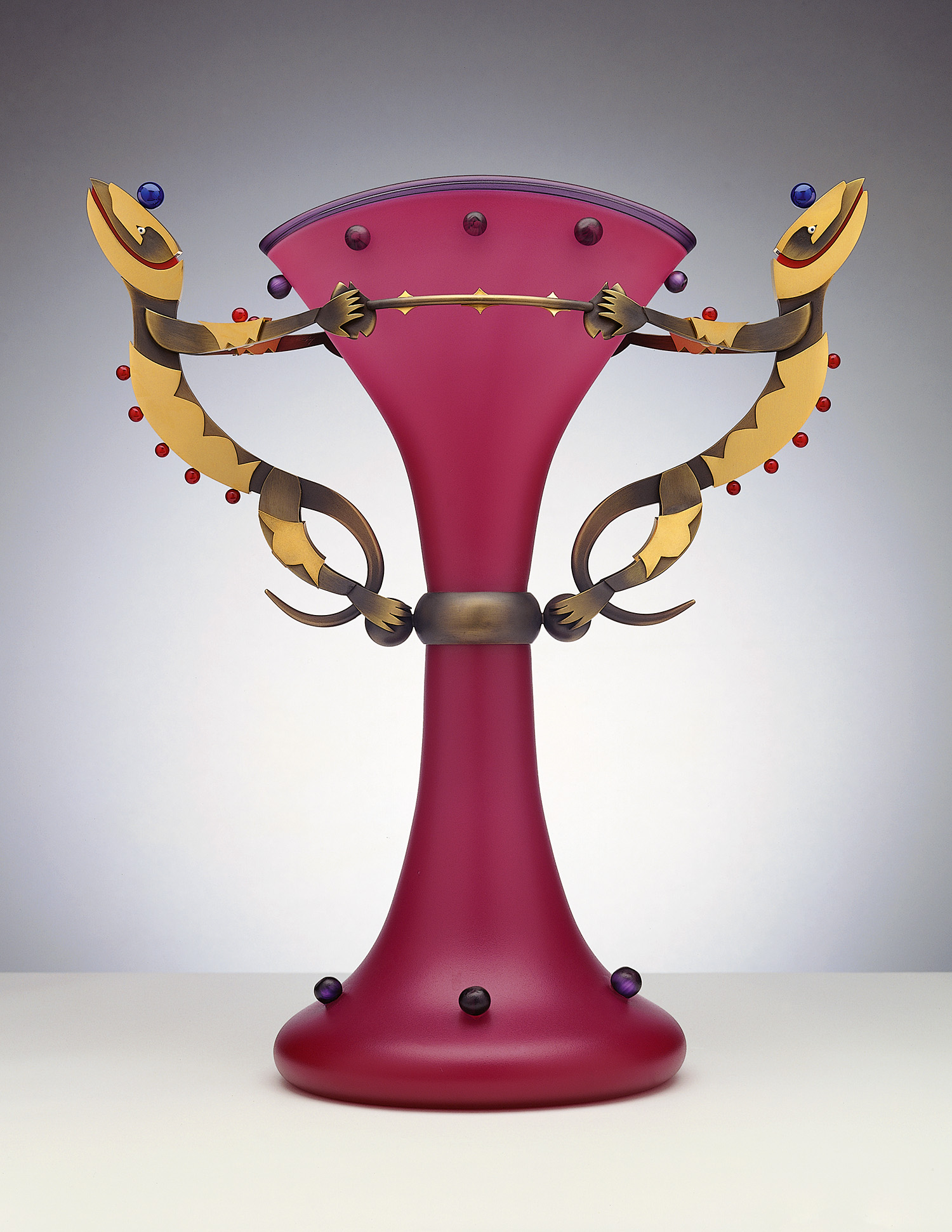 Lizard Elegance   1999. Blown glass, bronze and gold-plated bronze. 17½ x 16 x 8""