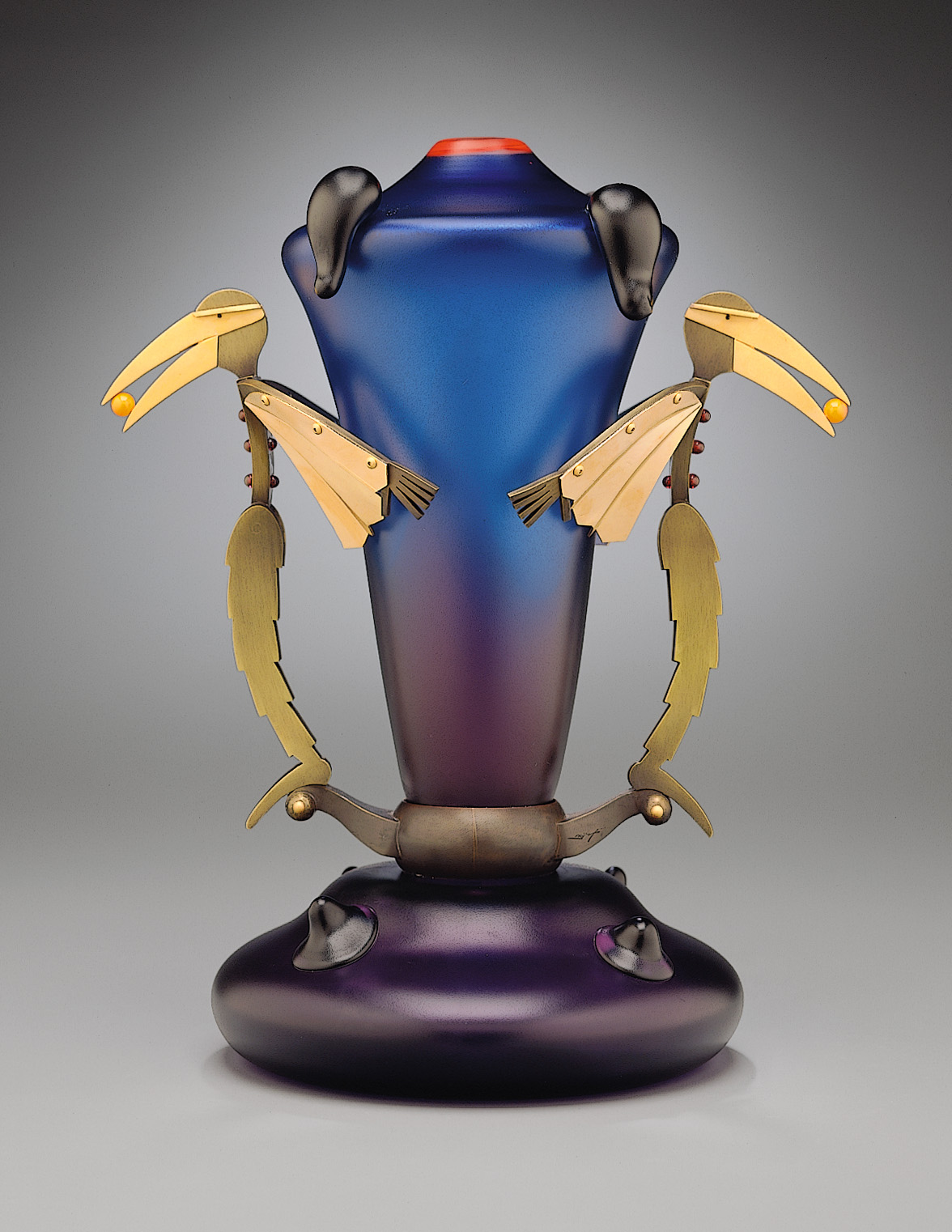 Bird Men   1998. Blown glass, bronze and gold-plated bronze. 12 x 10 x 7""