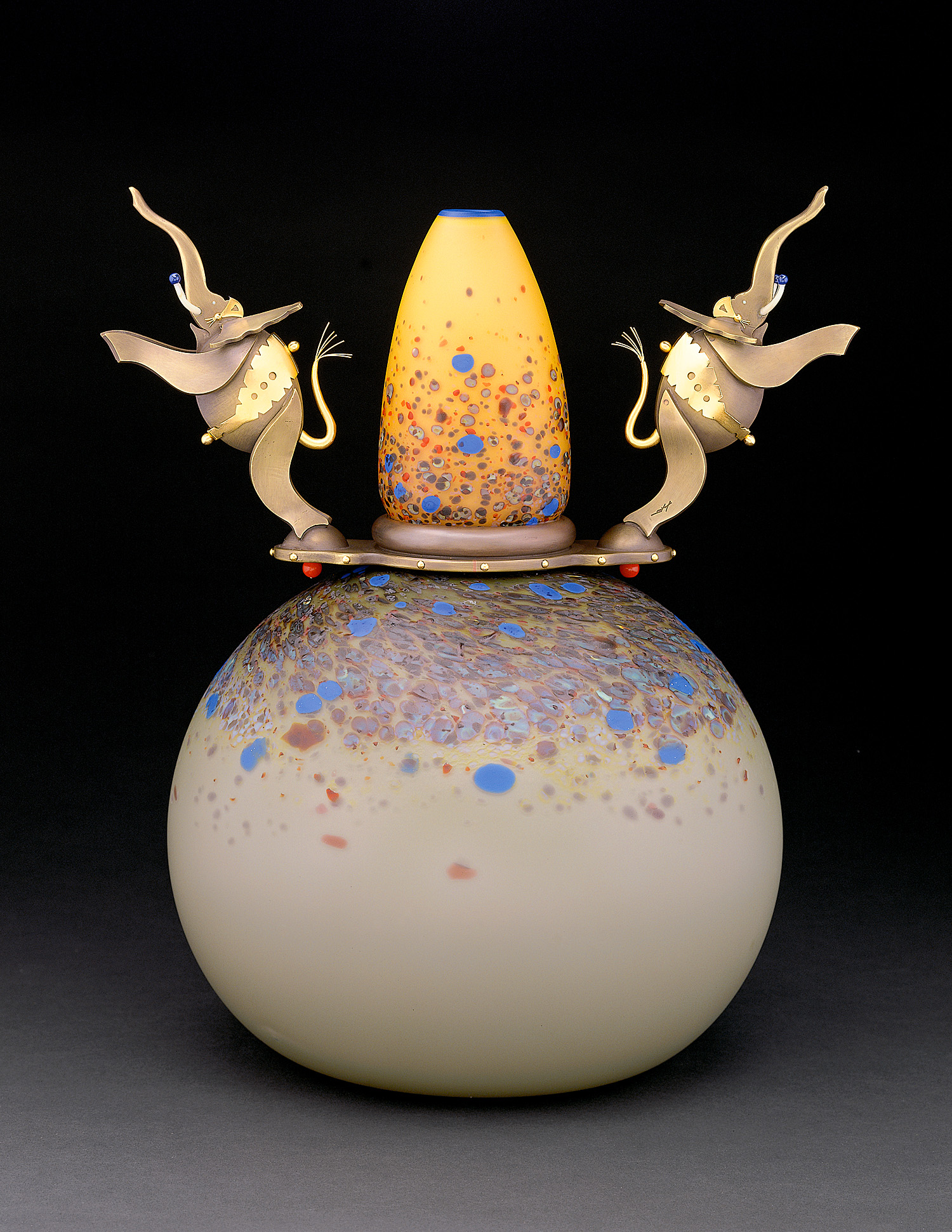 Elephant Jump   1997. Blown glass, bronze and gold-plated bronze. 17½ x 16 x 12""