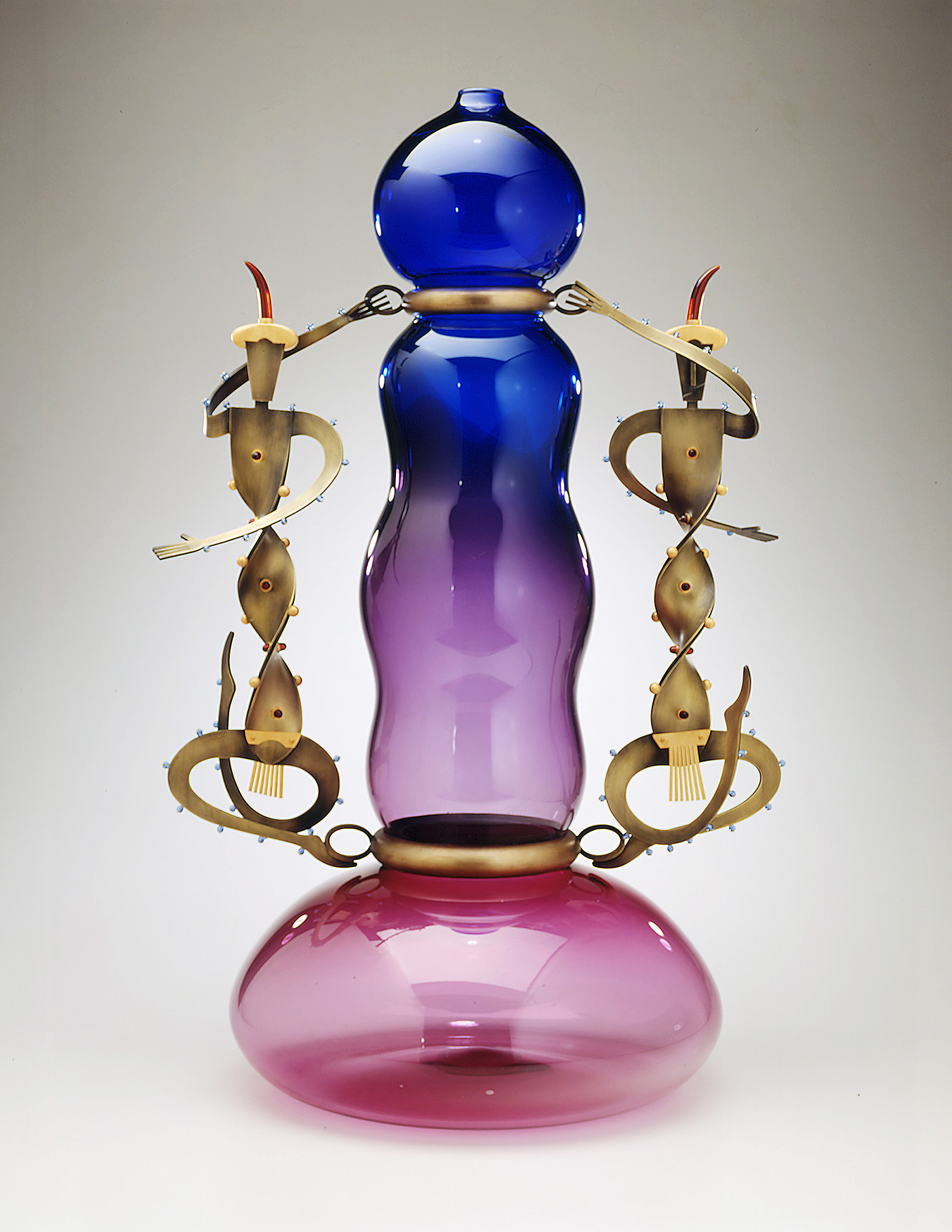 Whirling Dervishes   1997. Blown glass, bronze, gold-plated bronze, Vitrolite. 32 x 21 x 16""