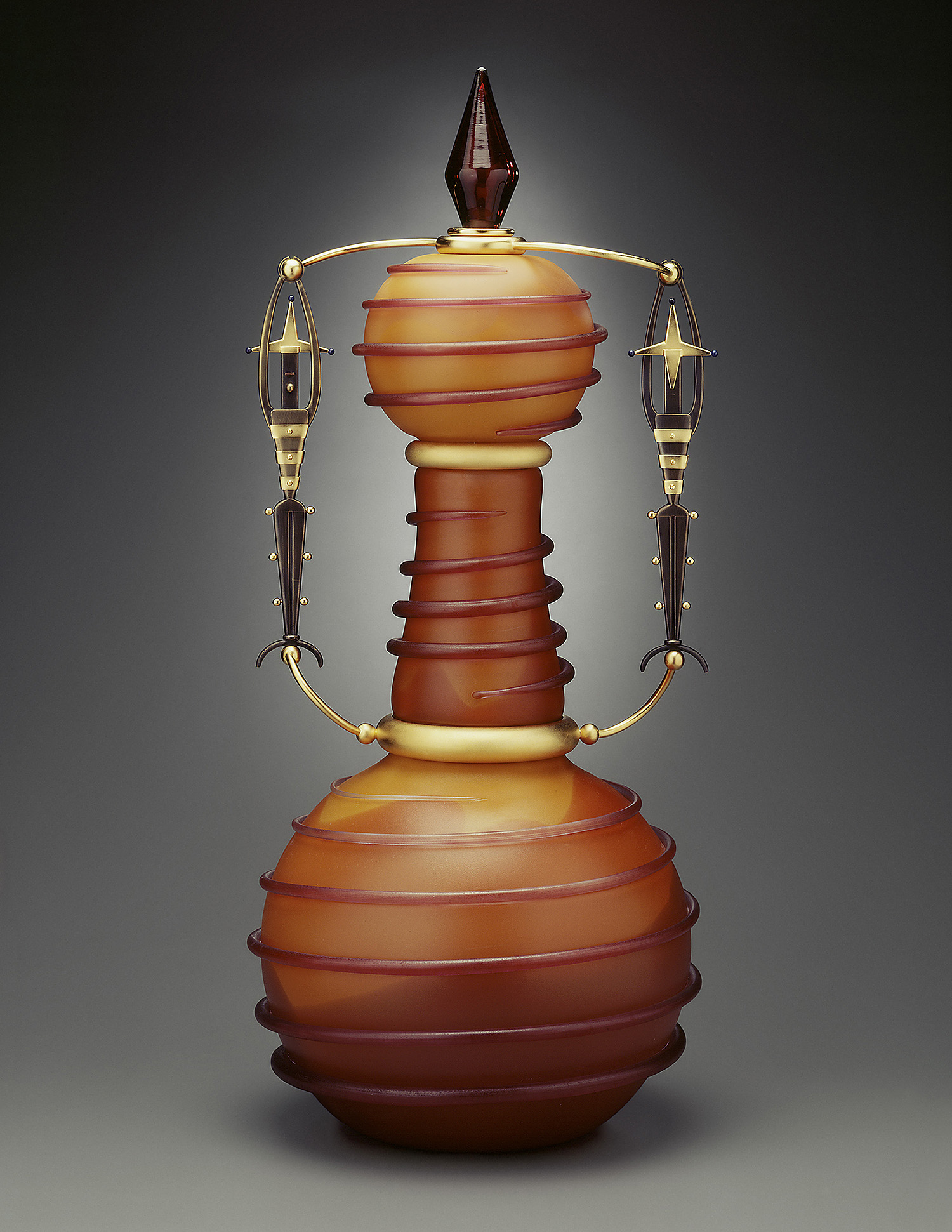 Two Jesters   1996. Blown glass, bronze and gold-plated bronze. 30 x 13½ x 12½""