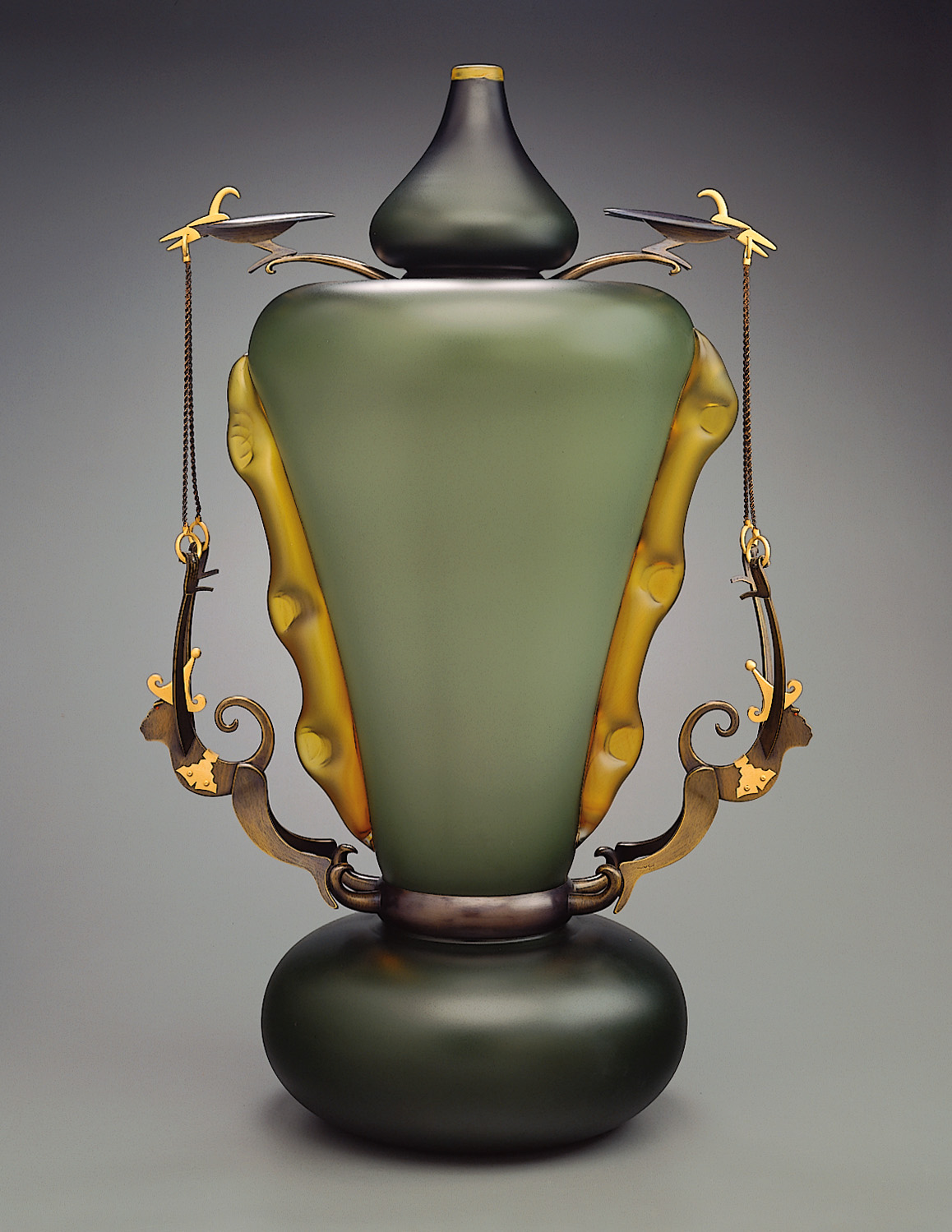 Falcons and Monkeys   1998. Blown glass, bronze and gold-plated bronze. 28½ x 18 x 11½""