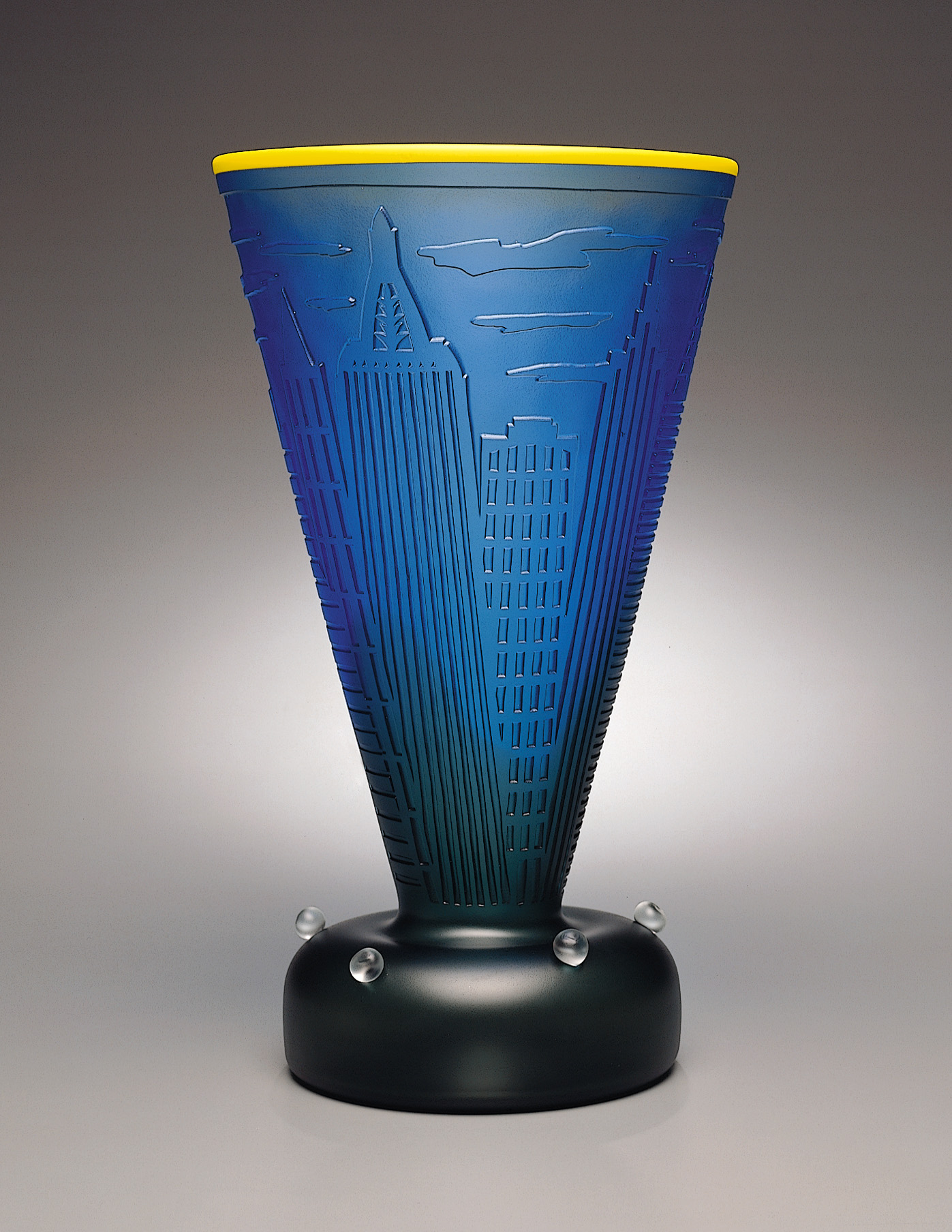 New York 6   1994. Blown glass, sandblasted and acid polished. 19 x 11 x 11""