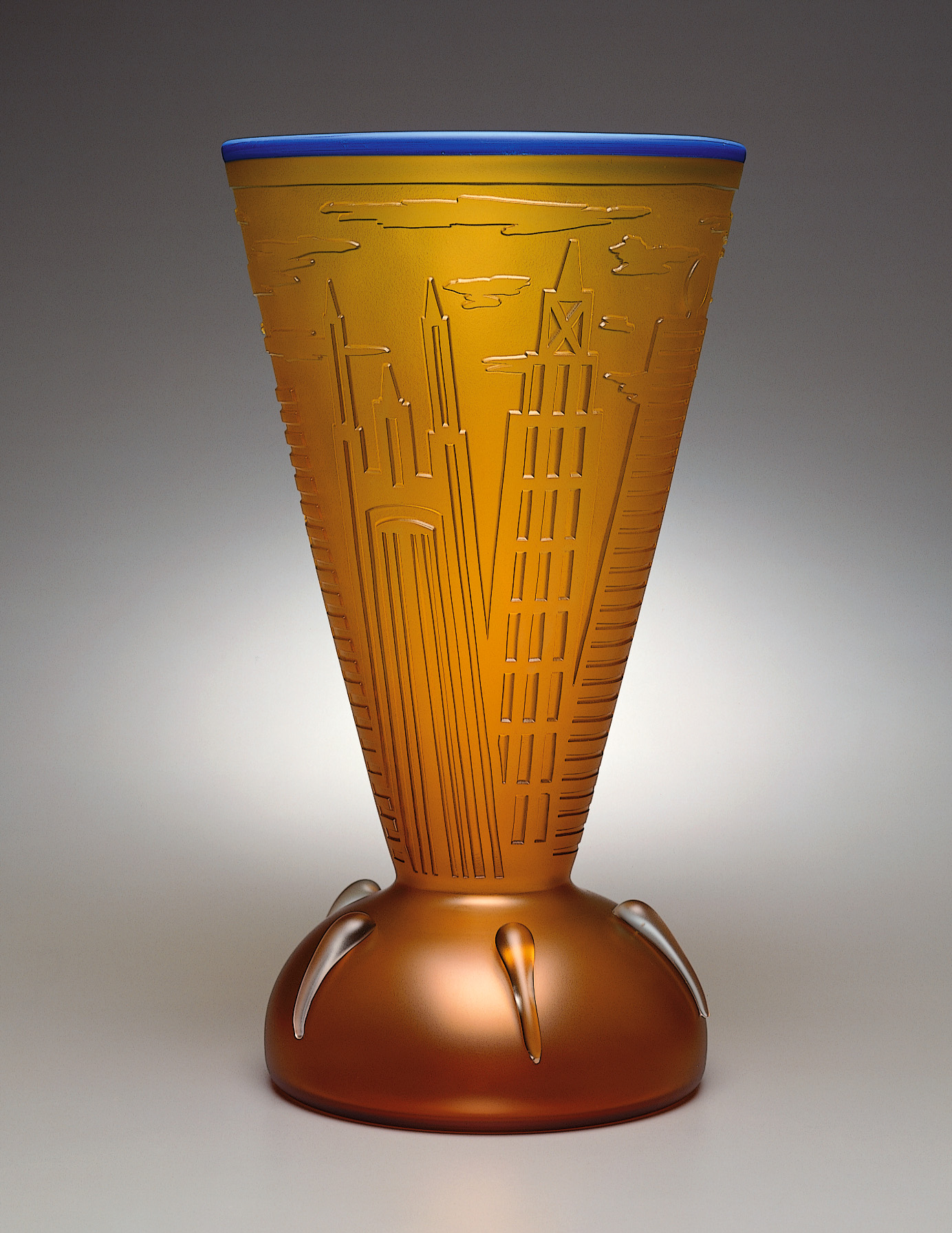 New York 5   1994. Blown glass, sandblasted and acid polished. 19½ x 11 x 11""