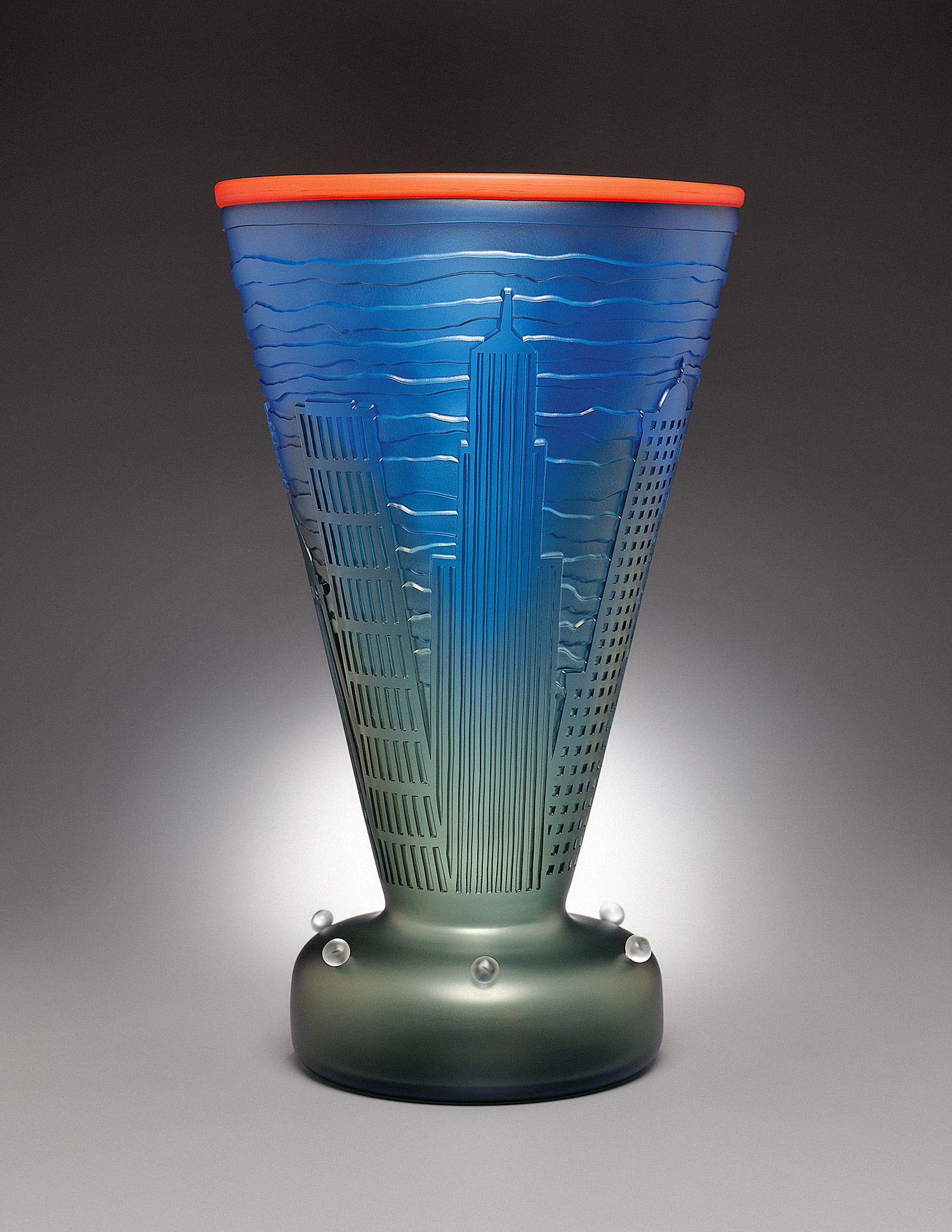 New York 4   1993. Blown glass, sandblasted and acid polished. 20½ x 12½ x 12½""