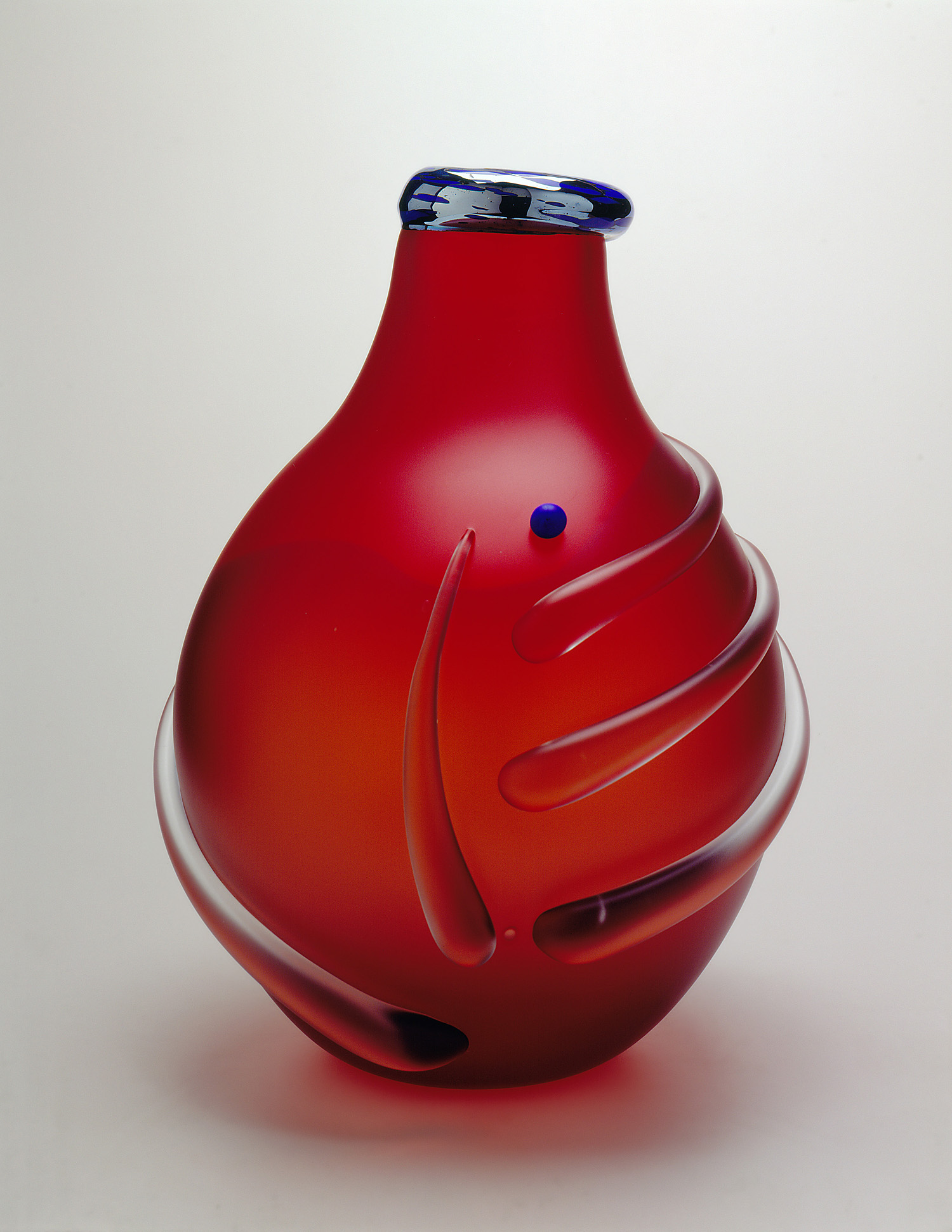 Puff   1994. Sandblasted and acid polished blown glass, glass details. 20½ x 15 x 15""