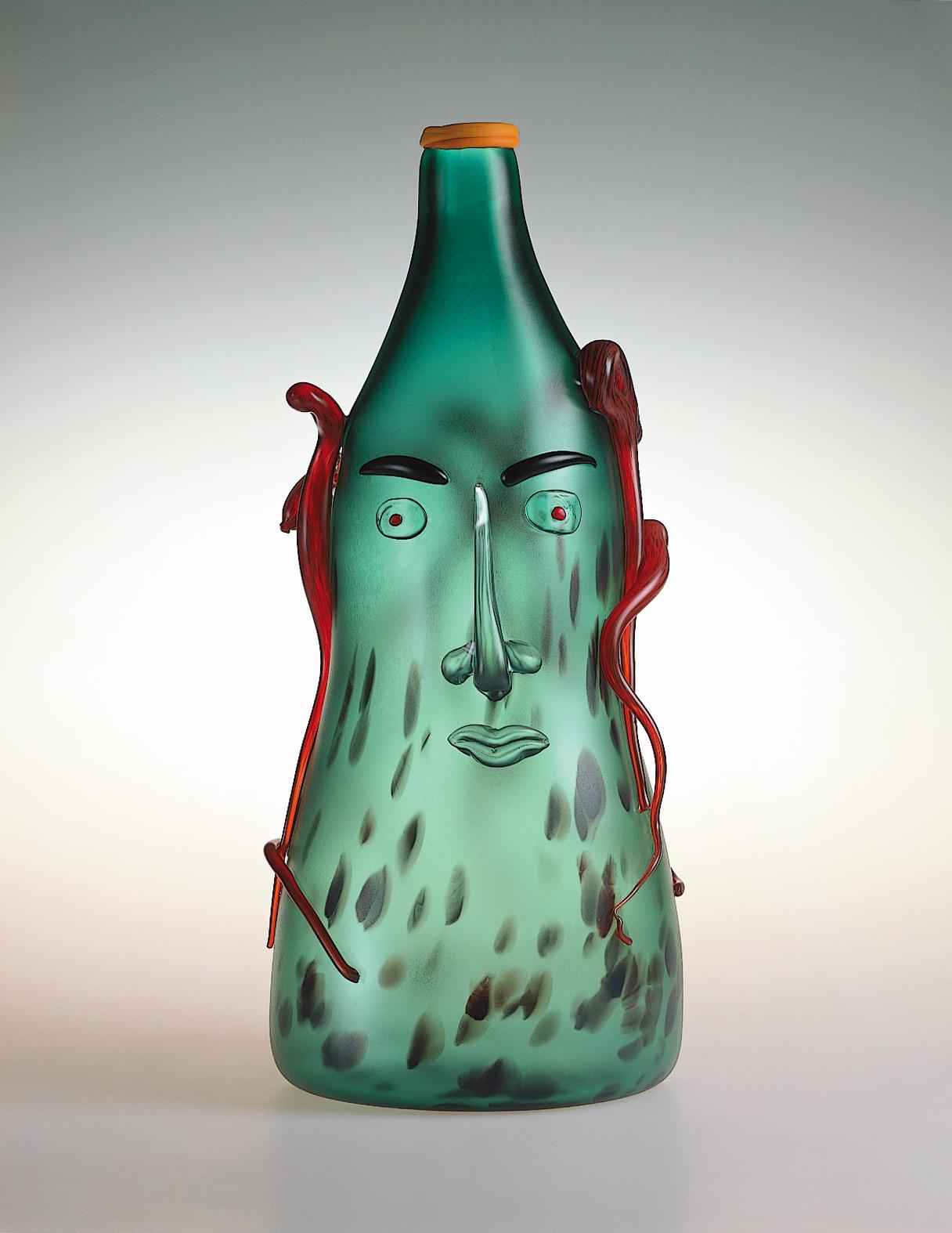 "Medusa   1990. Blown glass, sandblasted and acid polished. 25 x 11 x 11"""
