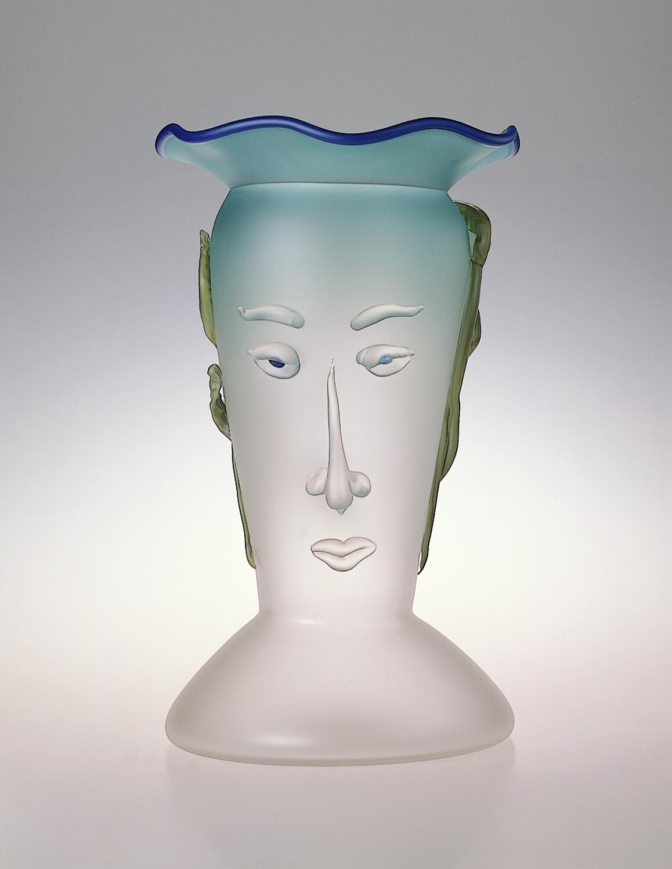 "Athena   1989. Blown glass, sandblasted and acid polished. 24 x 12 x 12"""