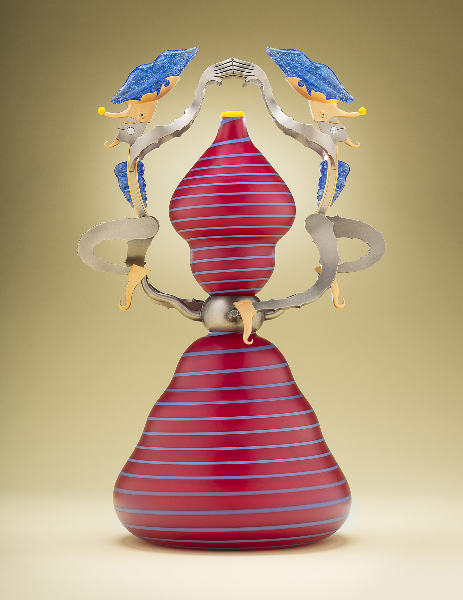 Illusionists   2013. Blown glass, nickel and gold-plated bronze, pate de verre and lampworked glass. 20½ x 12½ x 9½""