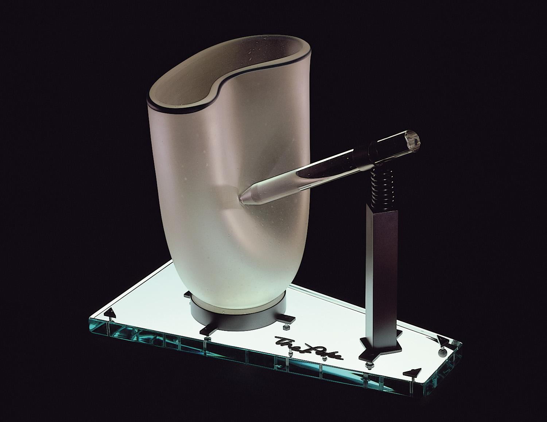 "The Poke   1980. Blown glass, plate glass, nickel plated brass. 12 x 15 x 10"""