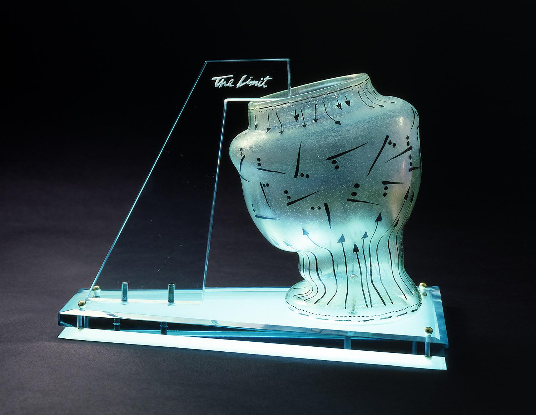 "The Limit   1978. Blown glass, plate glass, brass. 12 x 15 x 8"""