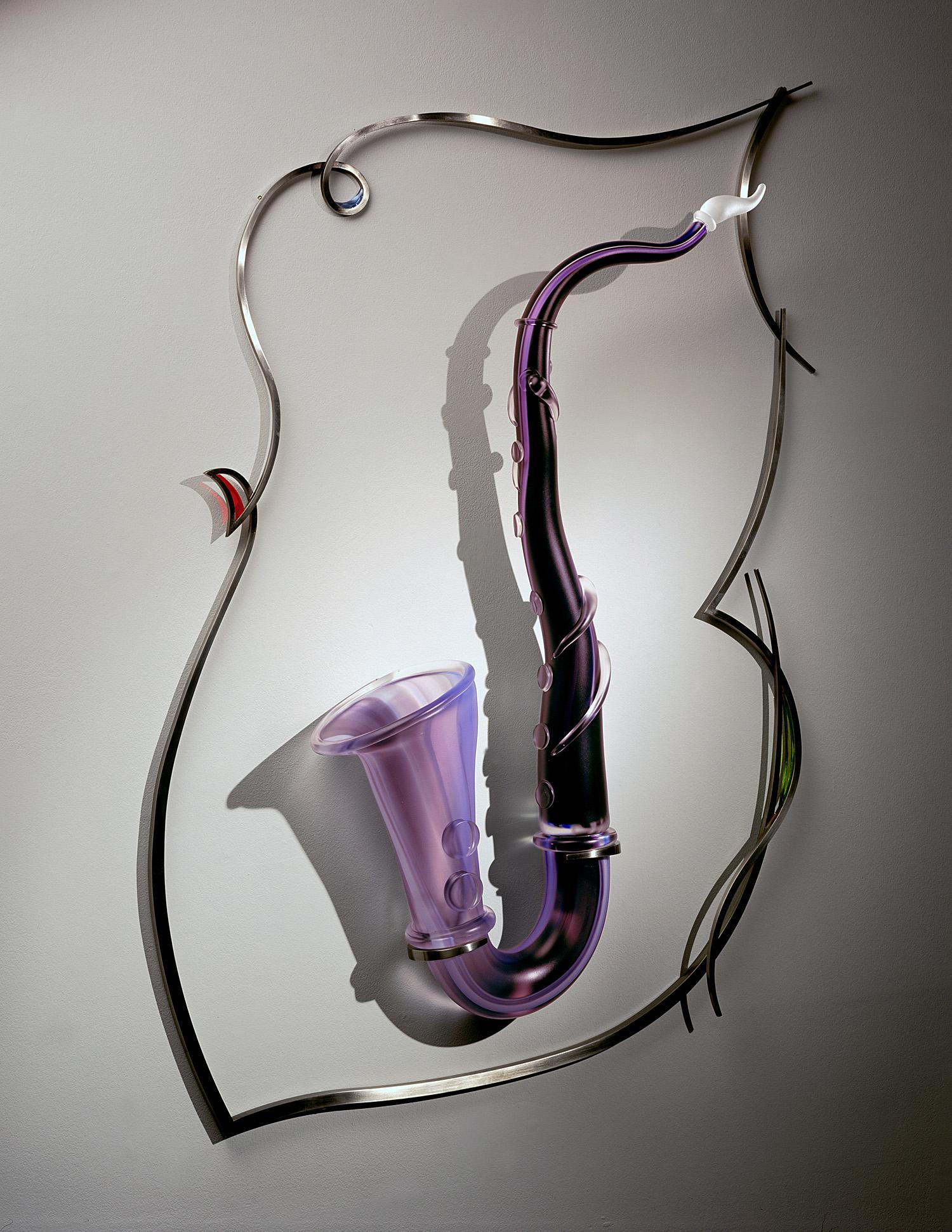 "Wistful   2003. Blown glass, glass details, nickel-plated bronze. 42 x 26 x 6"""