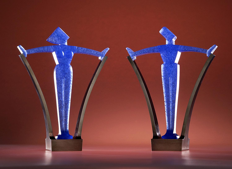 "Visionaries! Award   2003. Pate de verre, nickel-plated bronze, engraved nameplate. 8 x 4 x 2"""