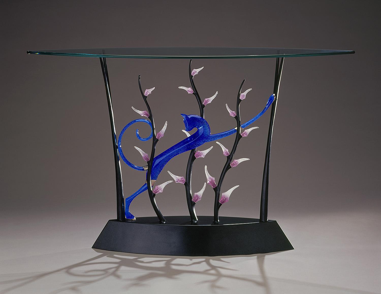 """Ratteau's Jaguar   2000. Cast bronze, pate de verre, plate glass. 36½ x 60 x 20"""""""