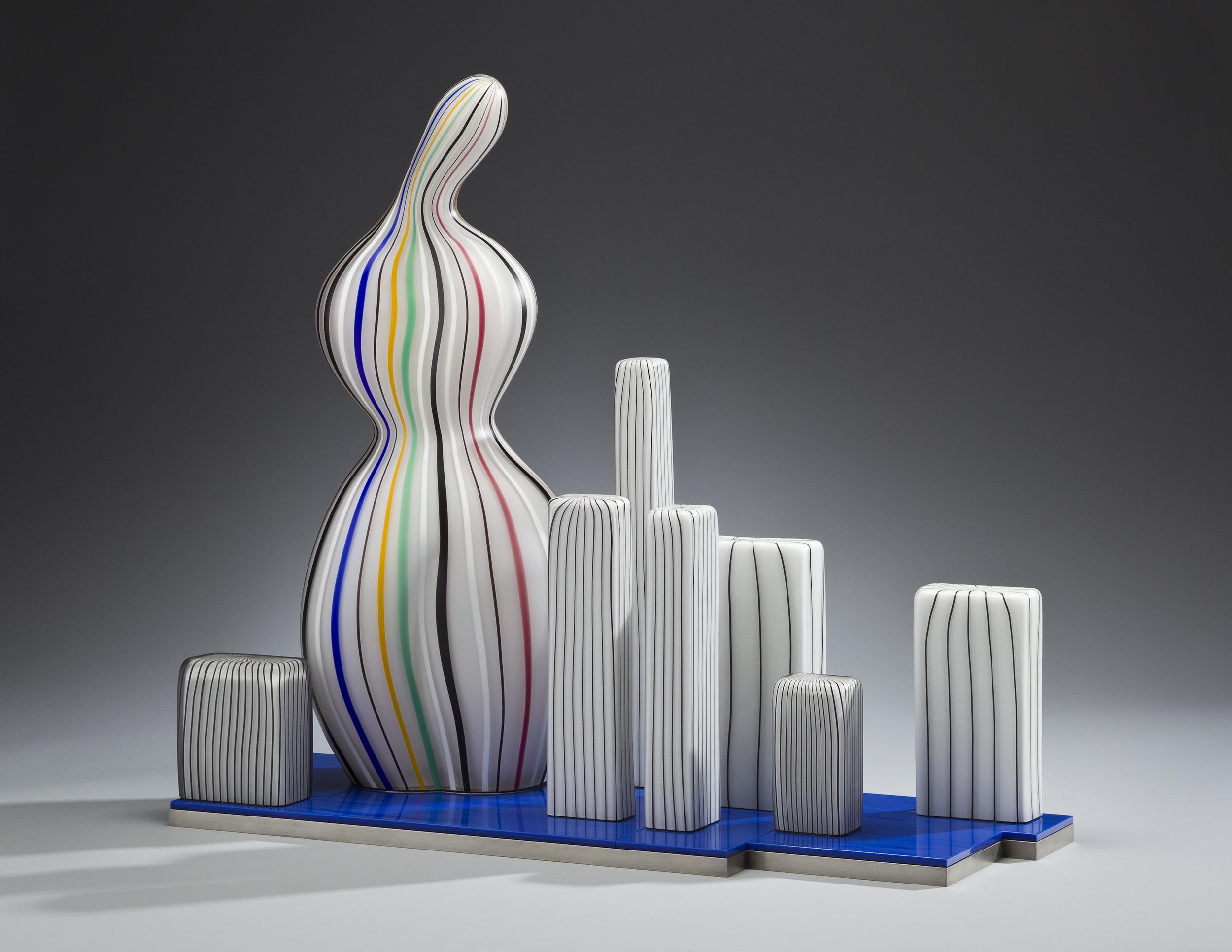 """Monument    2011.Blown glass, Vitrolite, aluminum, glass details.  22½ x26 x 10"""""""