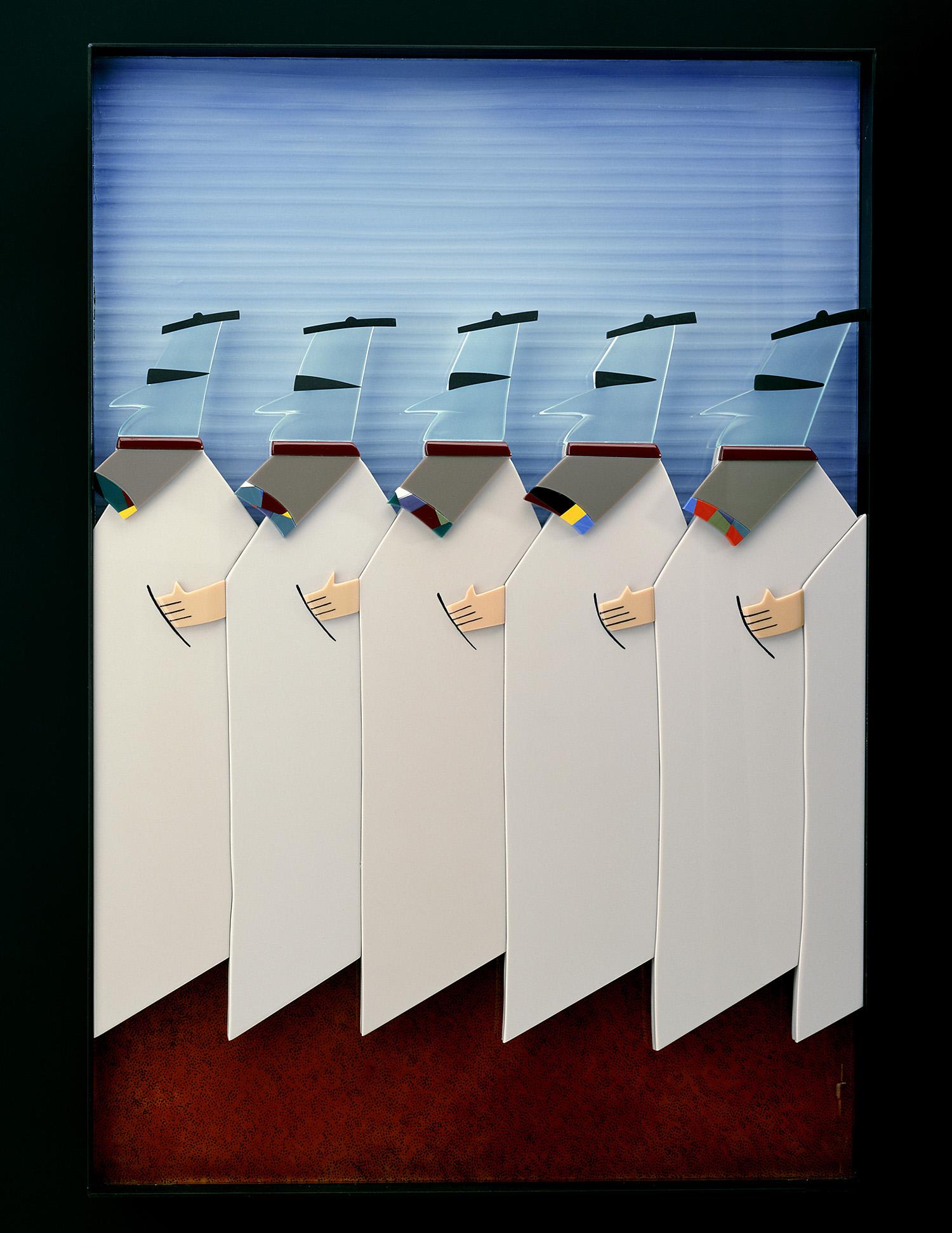 """The Takers   1985. Vitrolite, plate glass, aluminum. 36 x 24½"""""""