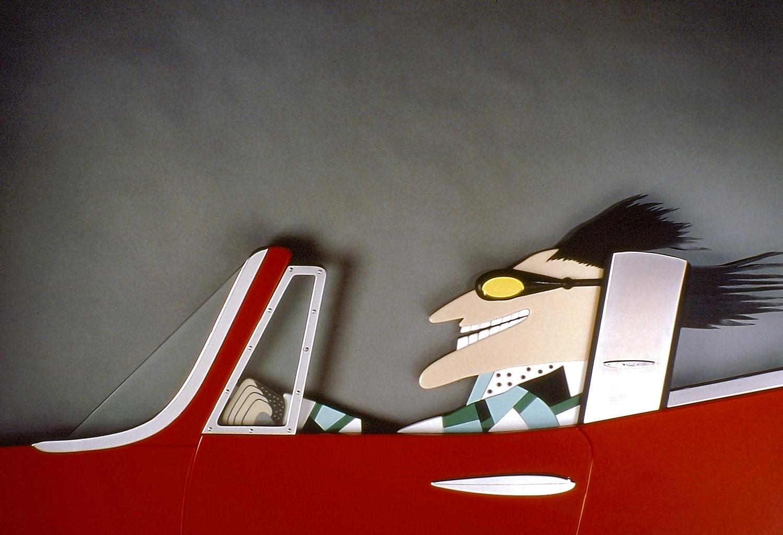 "Speed   1984. Vitrolite, plate glass, chrome-plated brass, aluminum. 42 x 20"""