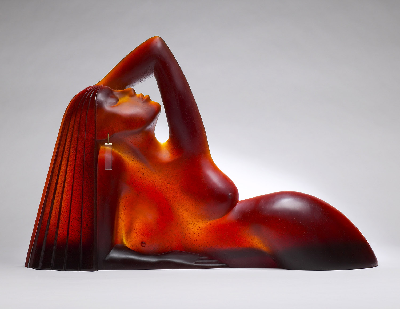 """Le Joyau   1994. Pate de verre, crystal, metal. 18 x 27 x 4¾""""  Cristallerie Daum   Nancy, France"""