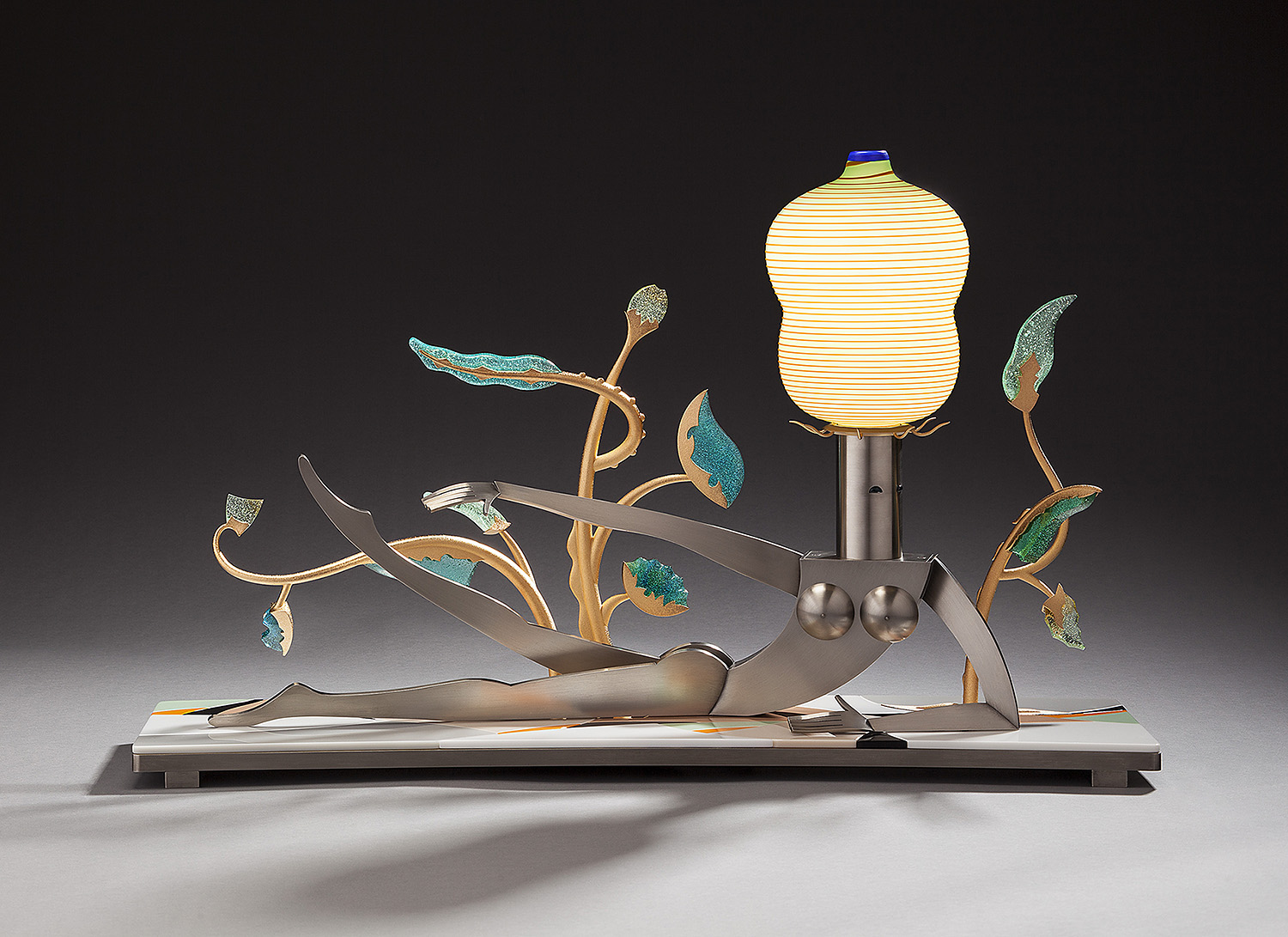 """Luxuriant   2012. Blown glass, nickel and gold-plated bronze, brass, aluminum, pate de verre, Vitrolite and lampworked glass. 18½ x 30½ x 9"""""""