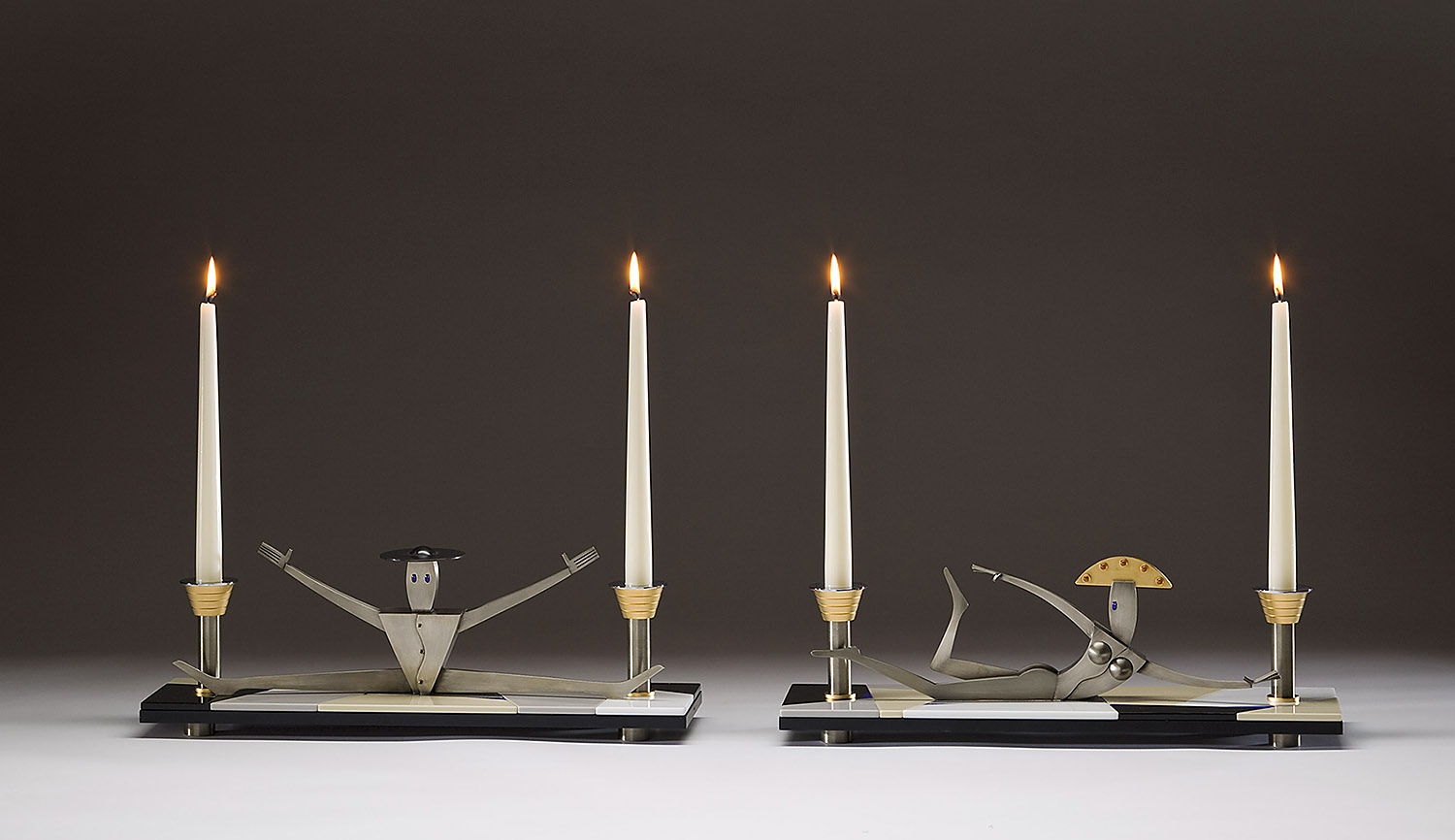 Candelabrums   2008. Blown glass, gold-plated bronze, bronze, Vitrolite and lampworked glass.